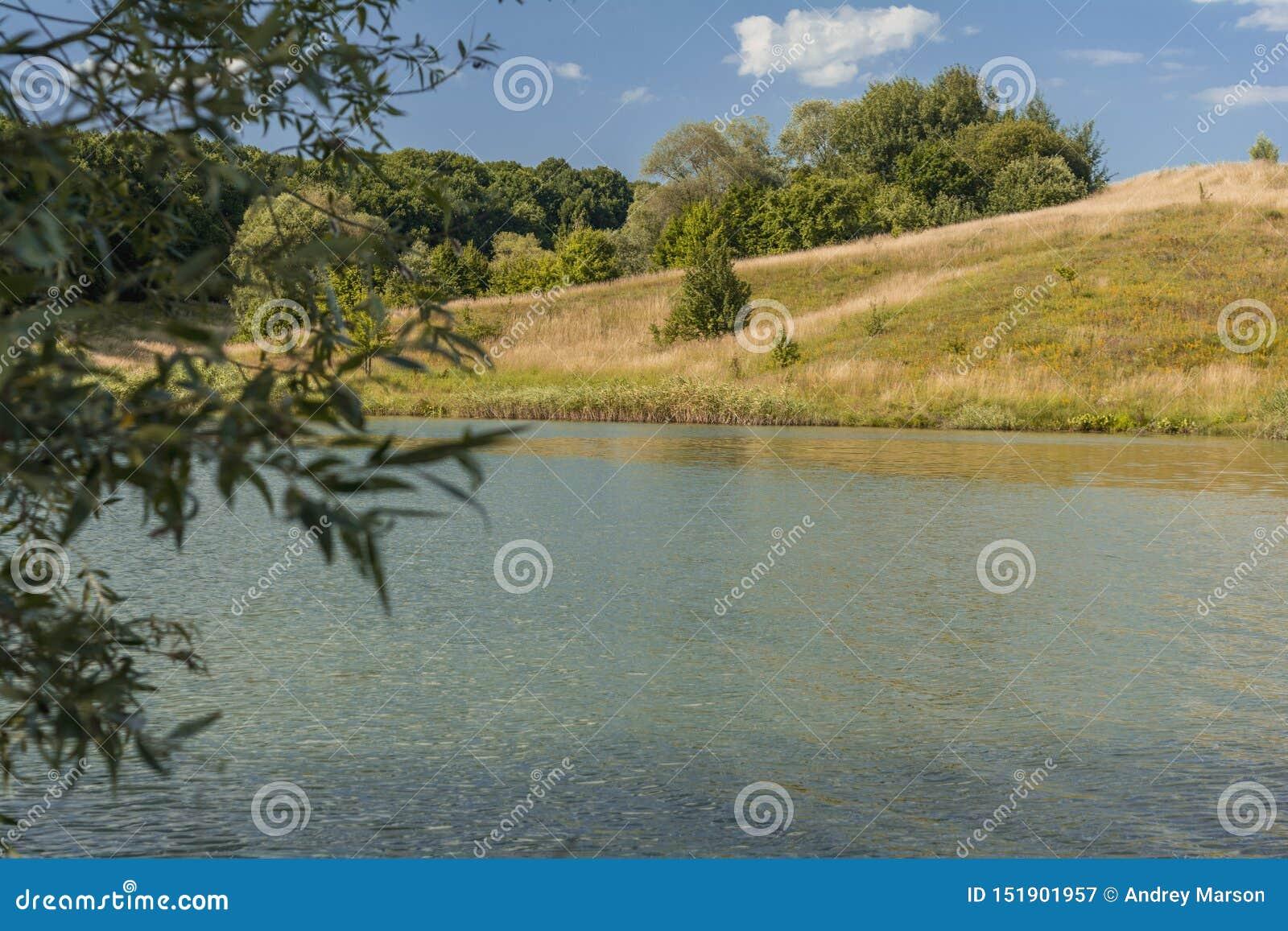 Härlig sikt av floden, gröna träd, kullar och blå molnig himmel SOMMAREN landskap