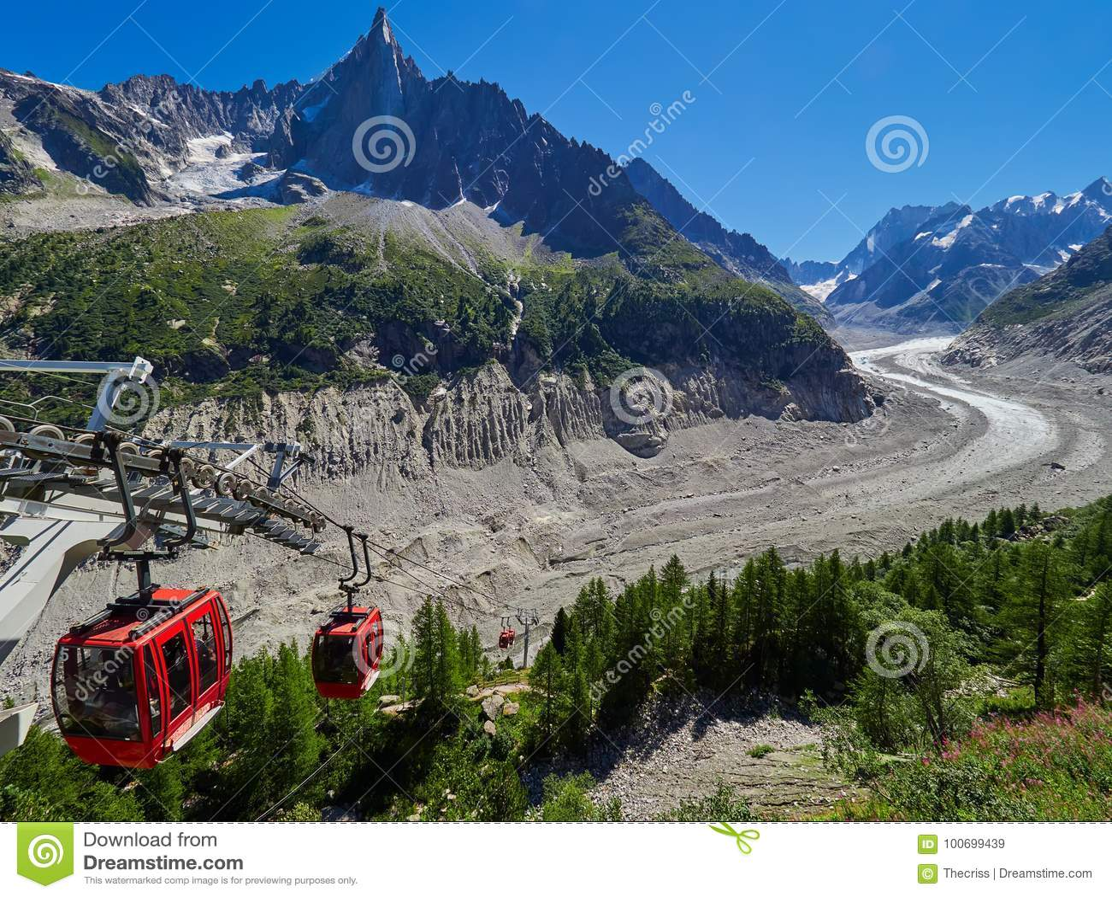 Härlig sikt av Mer De Glace Glaciär - Mont Blanc Massif, Chamonix, Frankrike