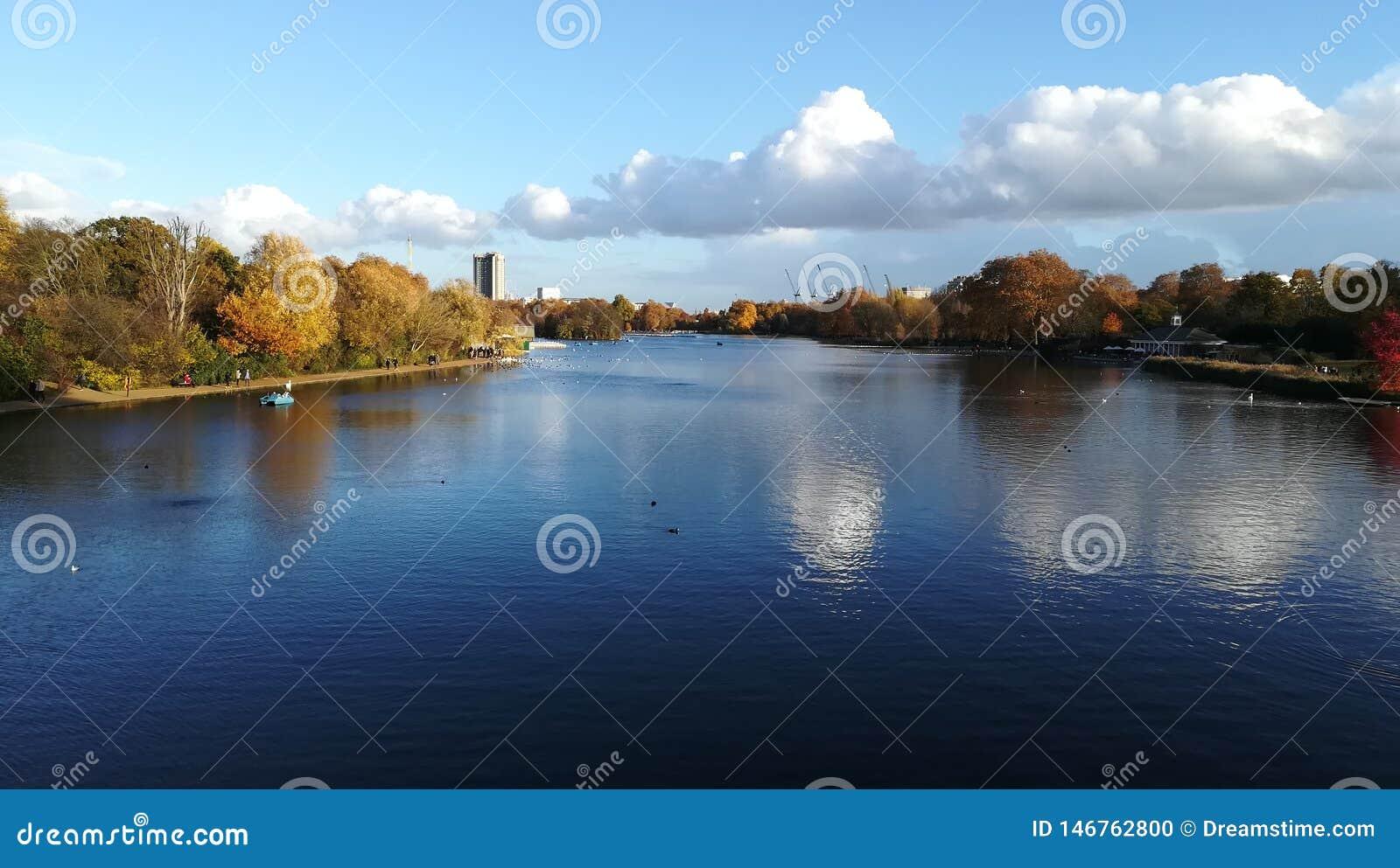 Härlig sjö i Hyde Parken, London, UK