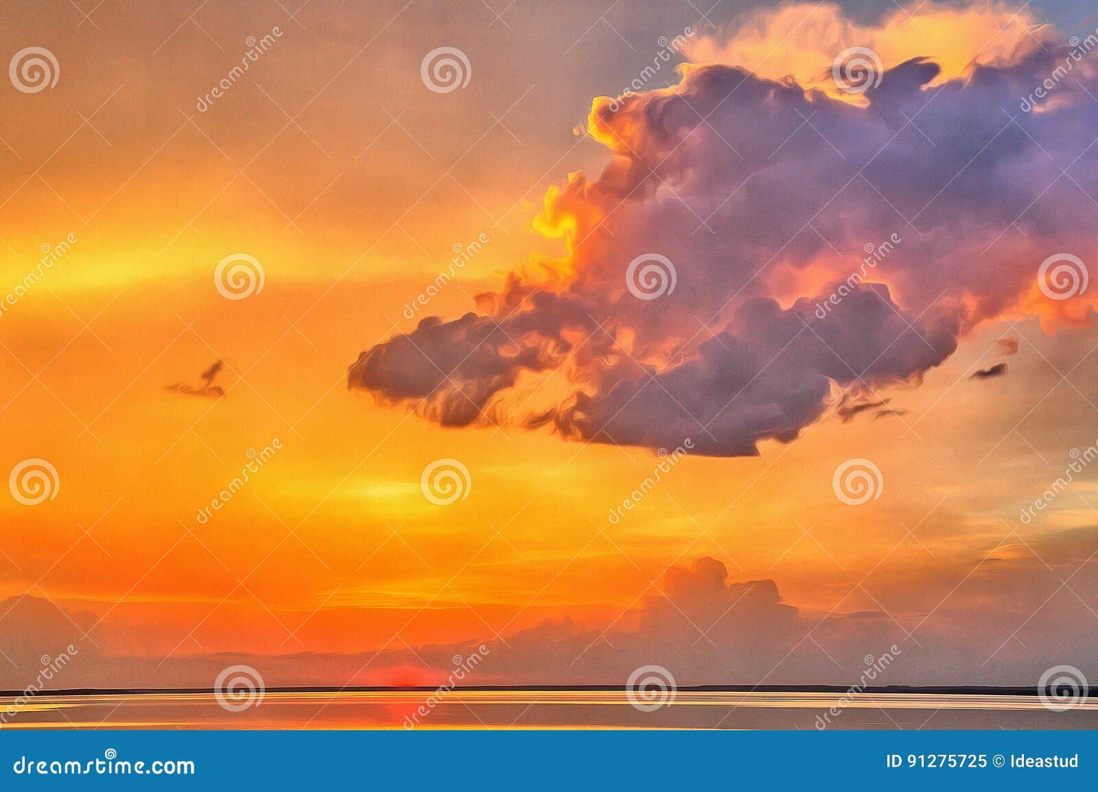 Härlig solnedgång över vatten i guld- signaler
