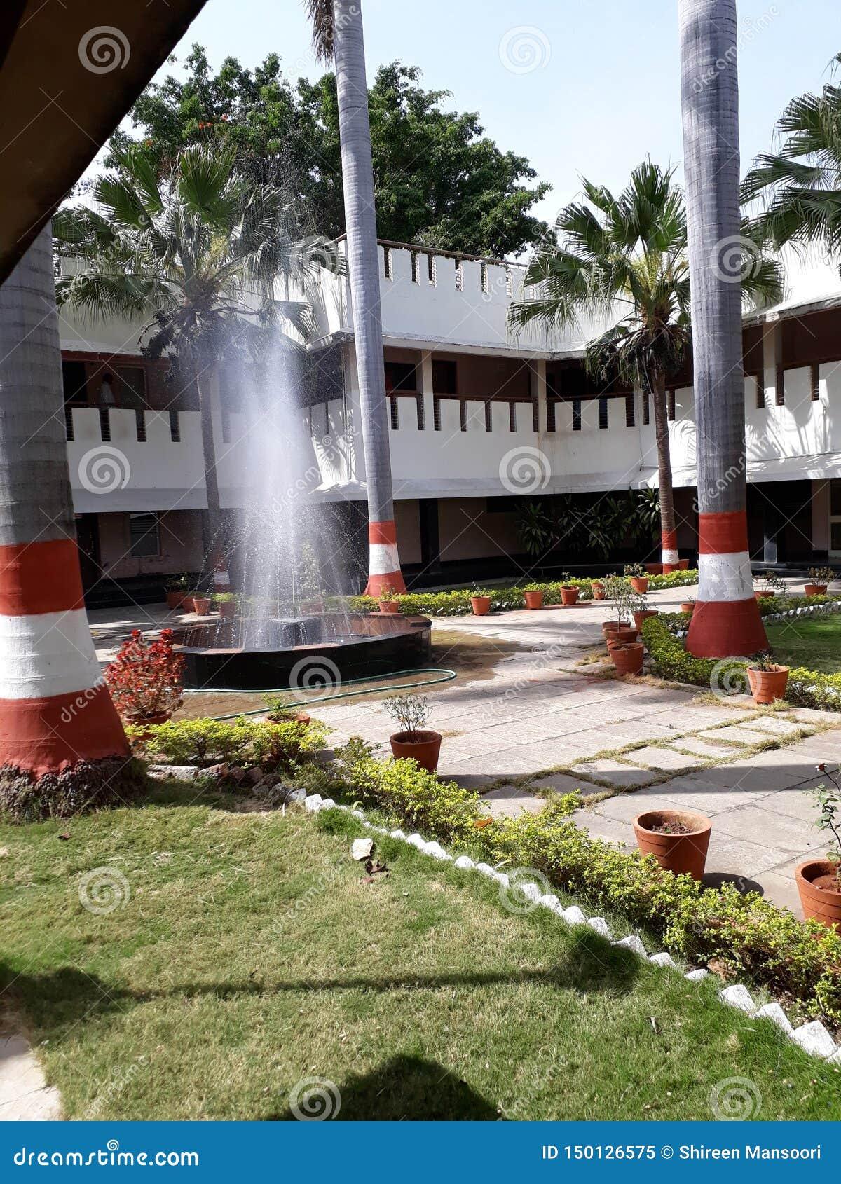 Härlig trädgård med vattenspringbrunnen