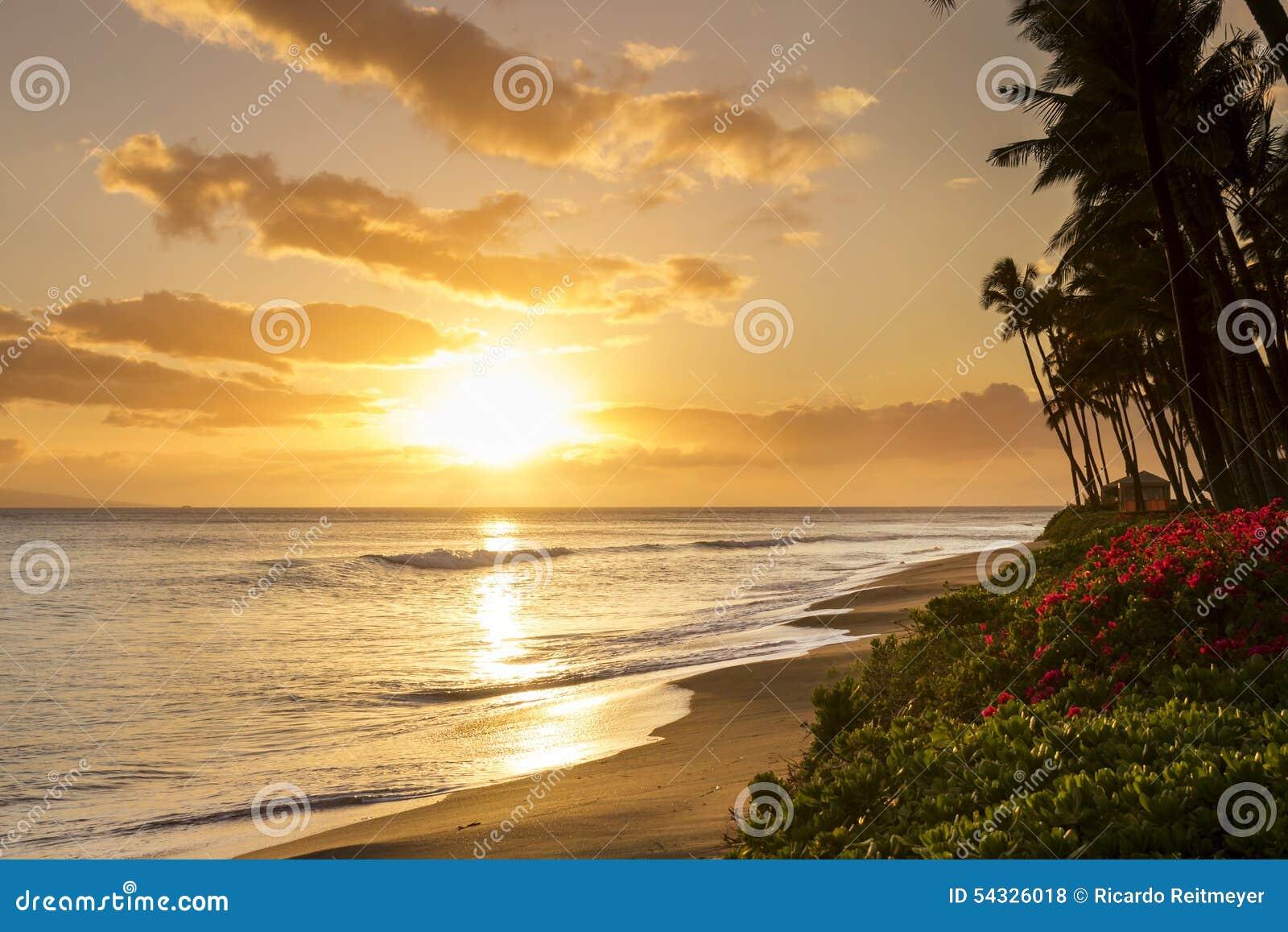 Härlig tropisk solnedgång på den Kaanapali stranden i Maui Hawaii