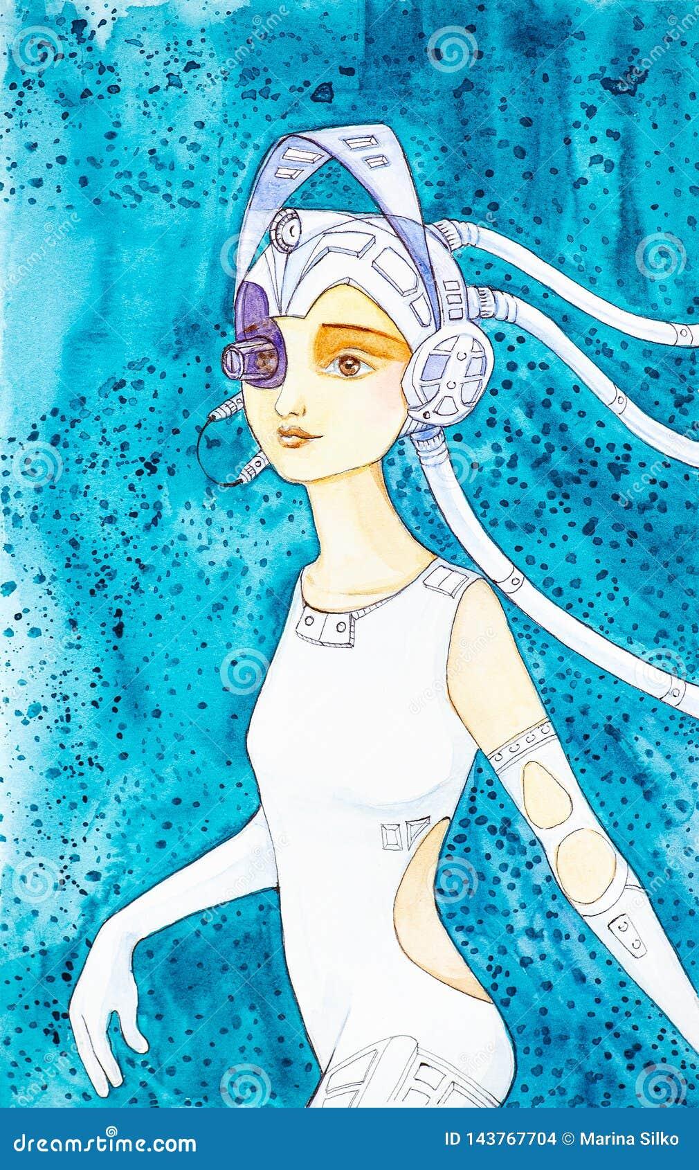 Härlig ung cyberflicka i åtsittande kläder för vitläder och att bära en hjälm med hörlurar och en sikt på en abstrakt blått