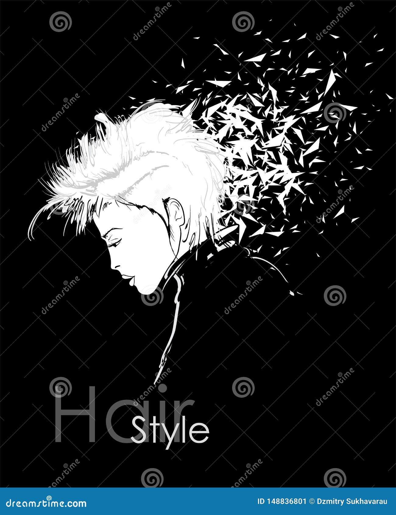 Härlig ung kvinna med en frisyr som förfaller in i partiklar mode skissar modeflickan f?r den svarta framsidan isolerade makeup p