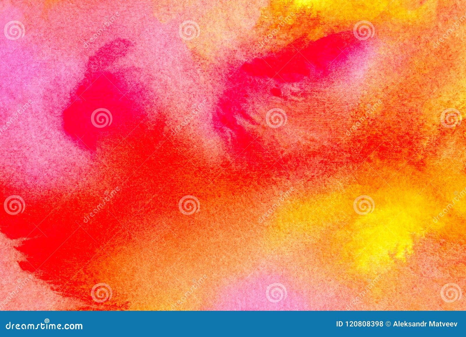 Härlig vattenfärgbakgrund i vibrerande orange rosa röd guling Utmärkt för texturer och bakgrunder för din projekt och stil