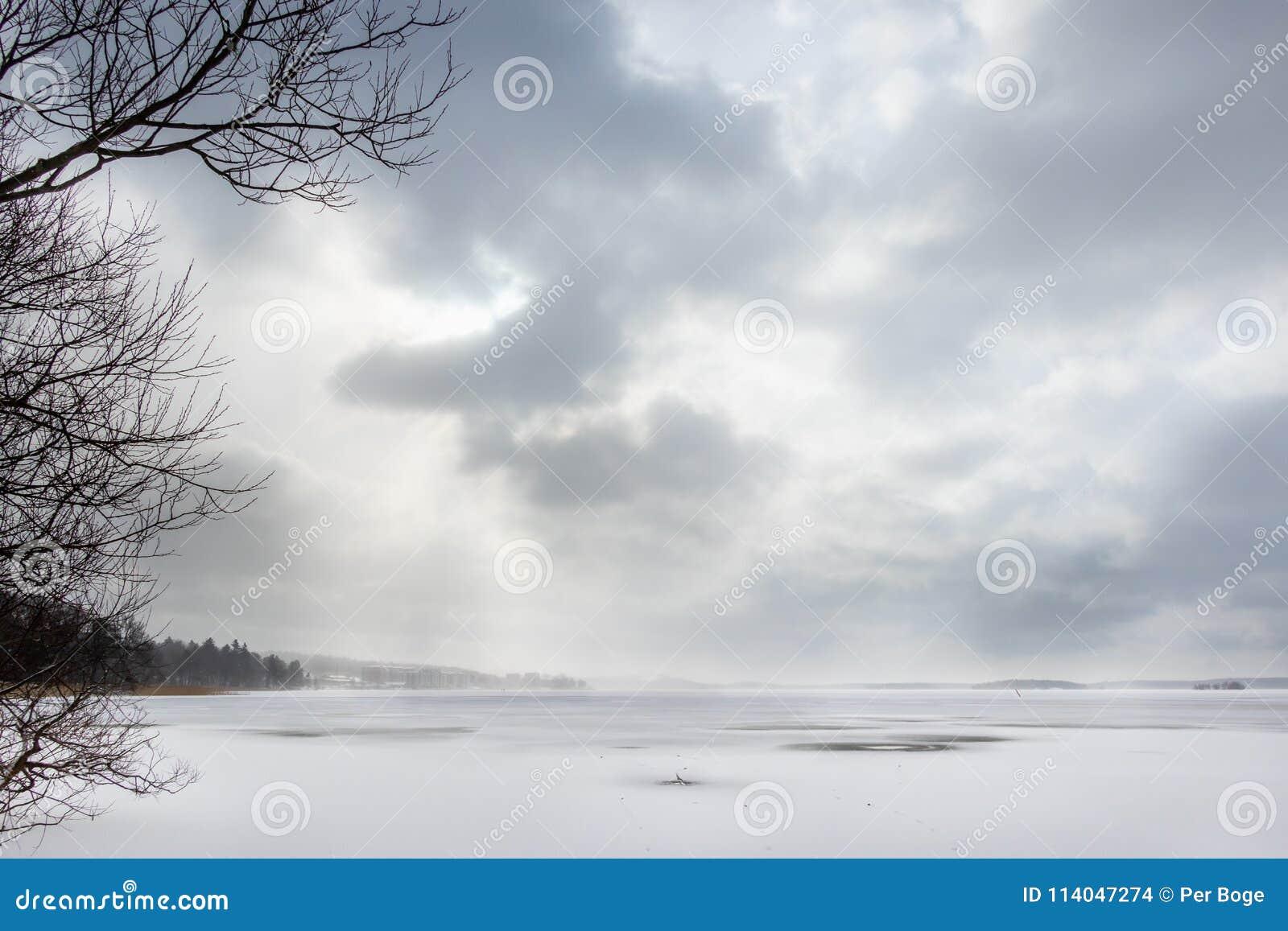 Härlig vinterseascape med disiga moln och det djupfrysta havet