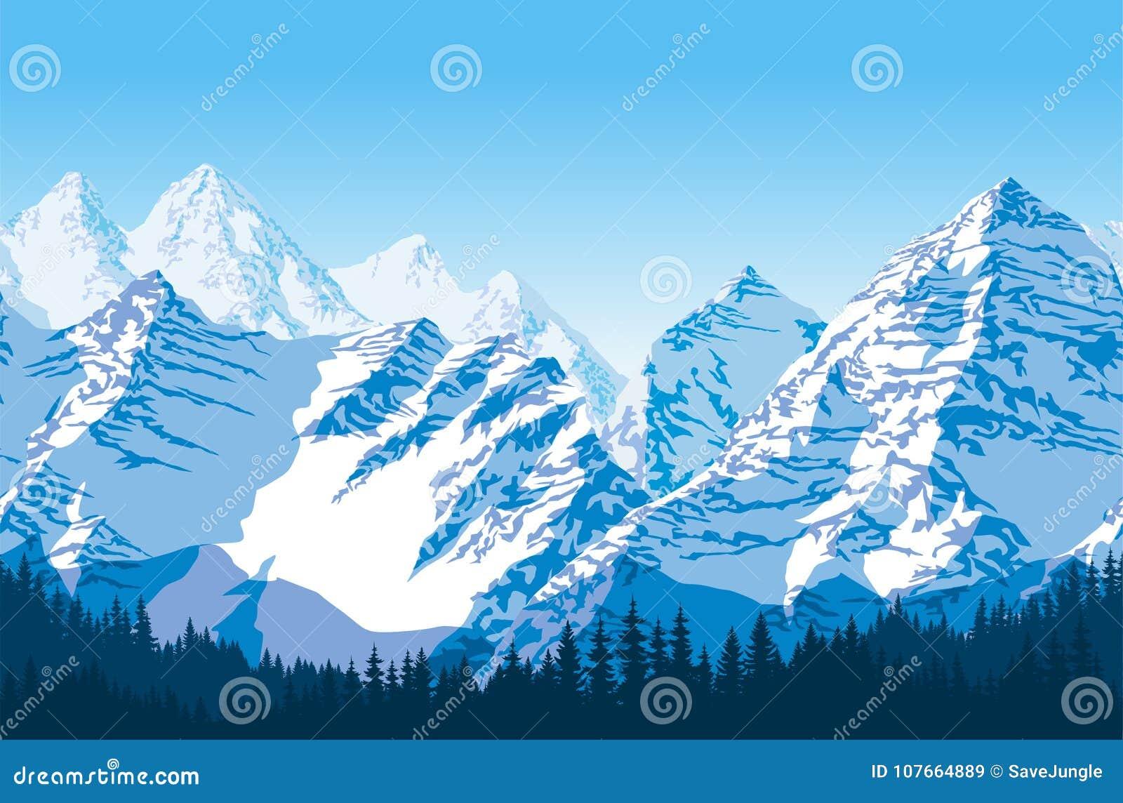 Härliga berg för sömlösa vektorblått med skogmodellen