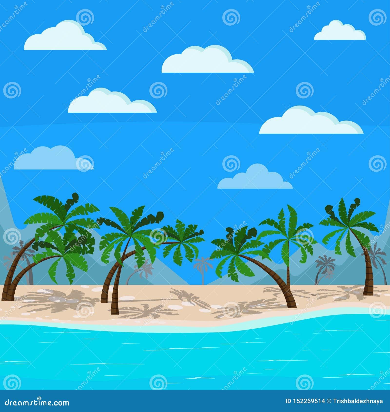 Härliga berg och havslandskap: blått hav, palmträd, moln, sandkustlinje