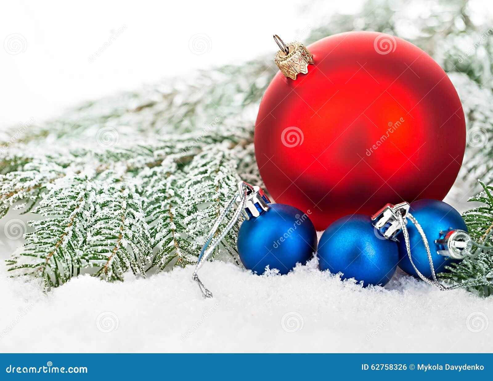 Härliga blått och röda julbollar på frostigt granträd blå skugga för prydnad för julblommaillustration