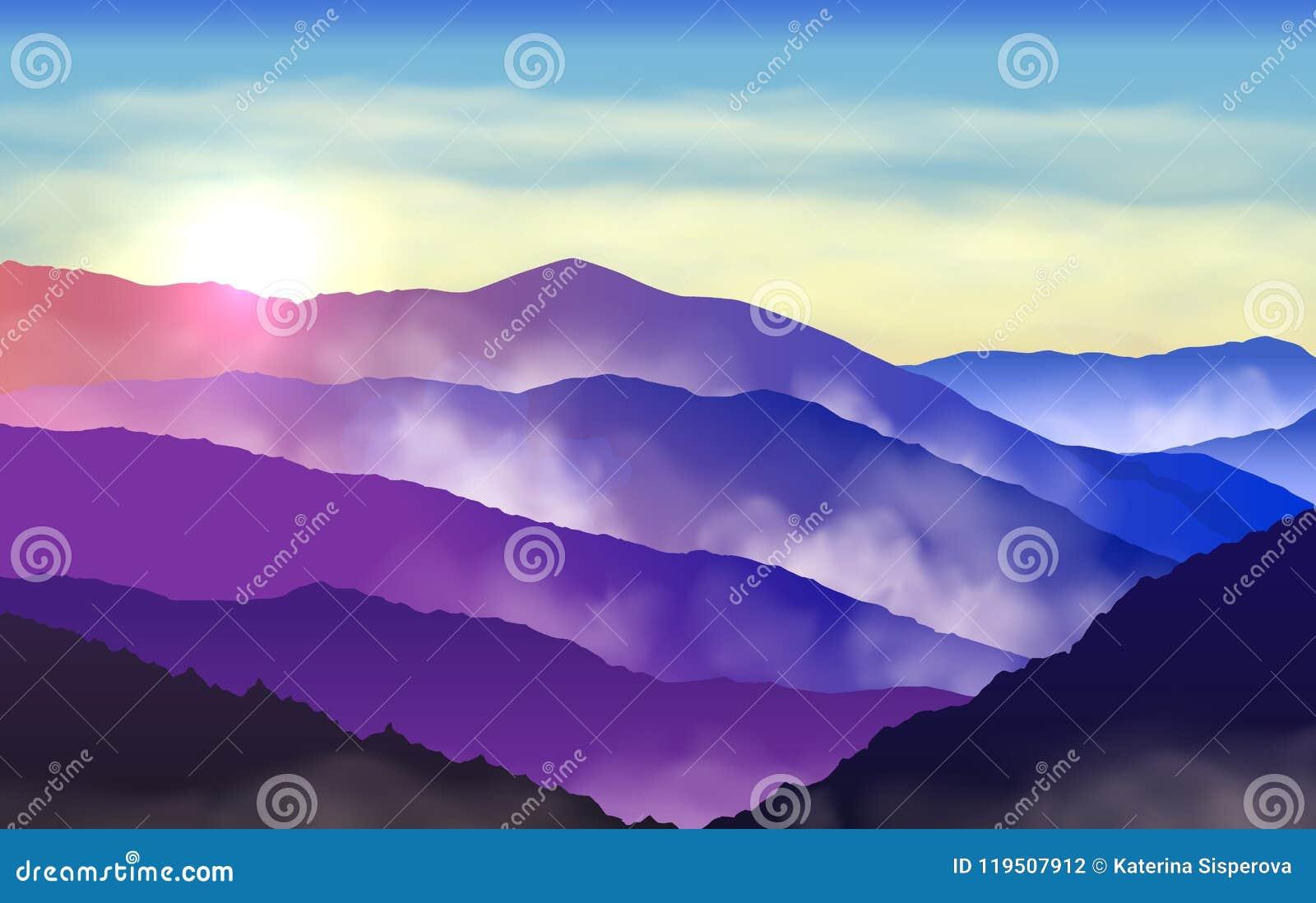 Härliga färgrika konturer för vektor av dimmiga berg med su