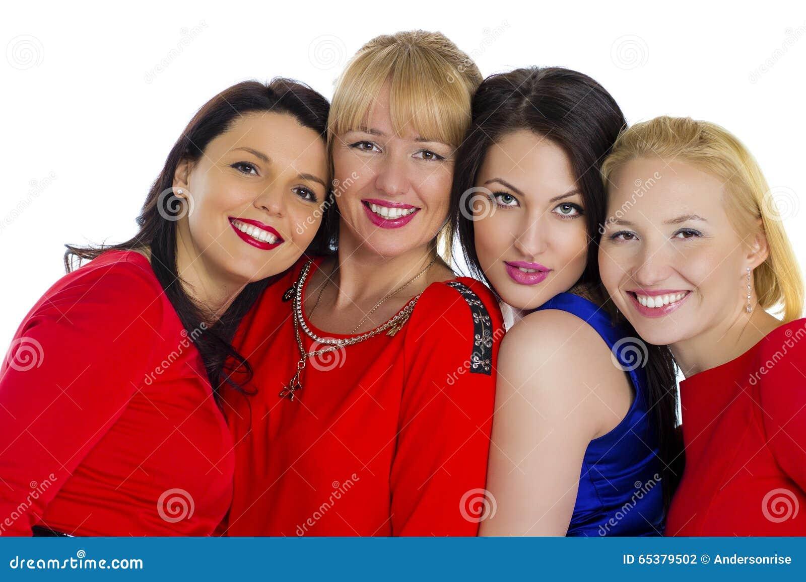 Härliga fyra grupperar unga lyckliga isolerade sexiga vita kvinnor Isolerat på whi