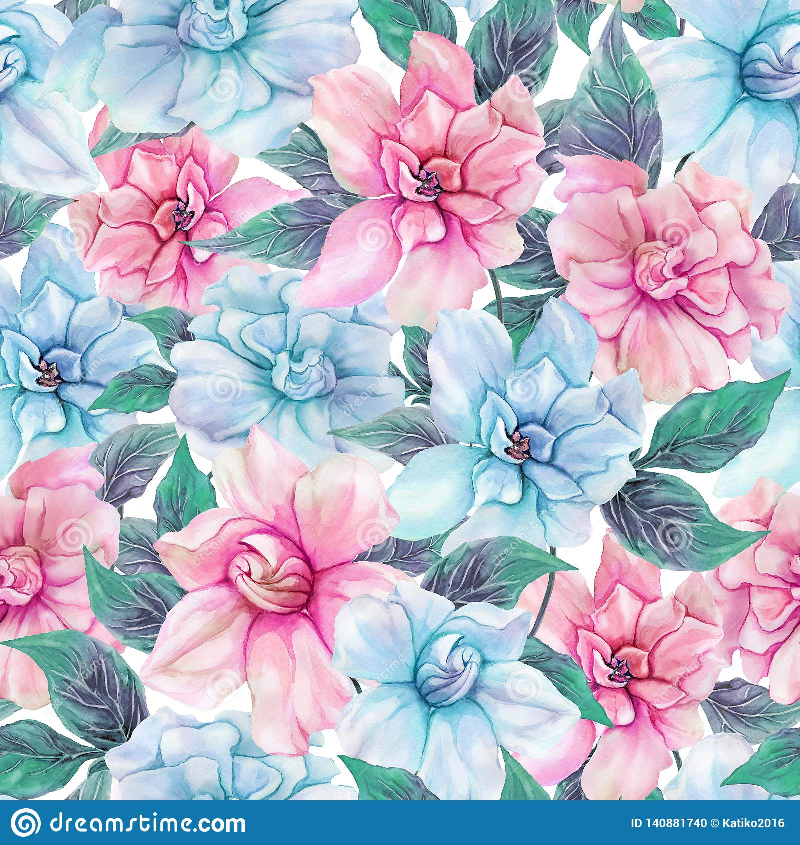 Härliga gardeniablommor med sidor i sömlös blom- modell Pastell färgade botanisk bakgrund för Adobekorrigeringar hög för målning