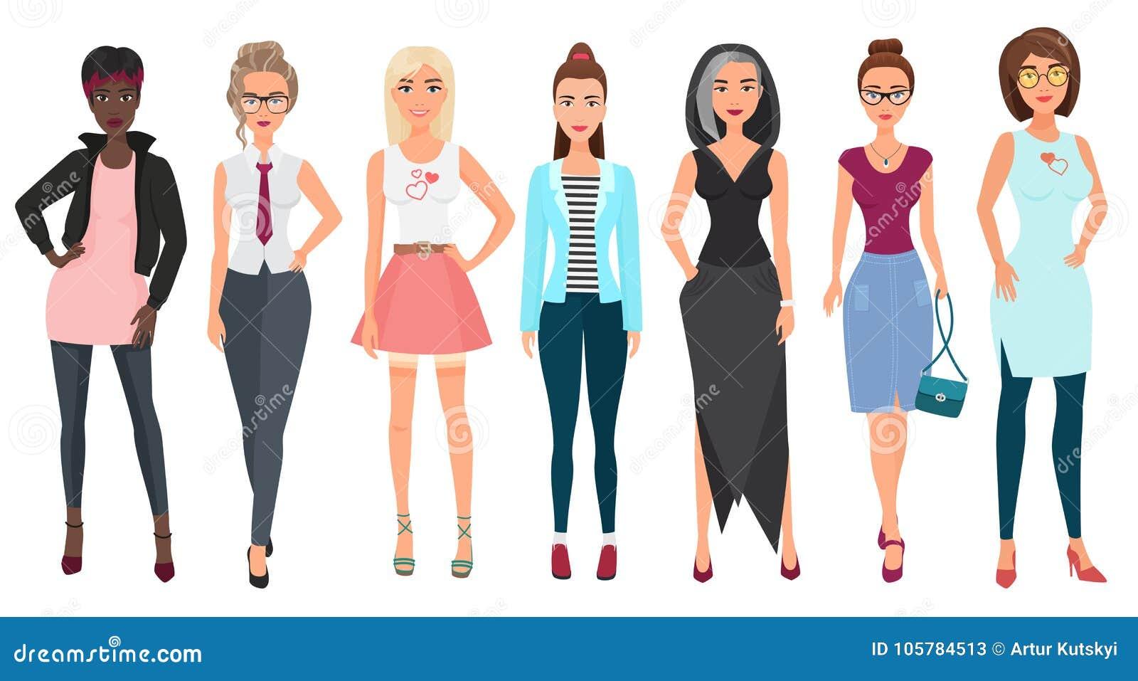 Härliga gulliga unga kvinnor i modekläder Kvinnliga tecken för detaljerade flickor Plan stilvektorillustration