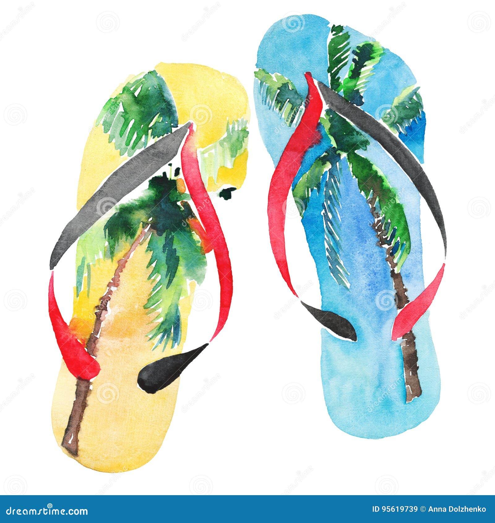 Härliga ljusa älskvärda misslyckanden för flip för guling för blått för komfortsommarstrand med tropiskt gömma i handflatan desig