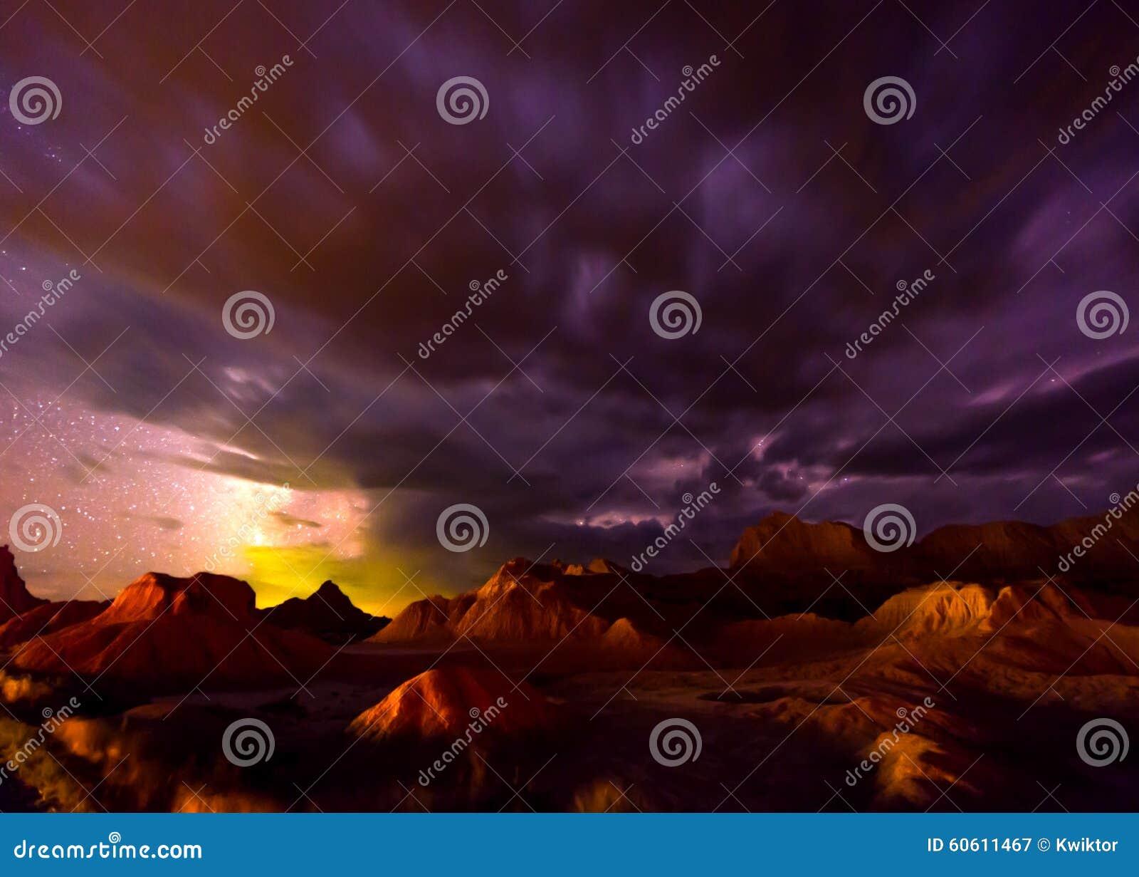 Härliga molniga nattBadlands South Dakota