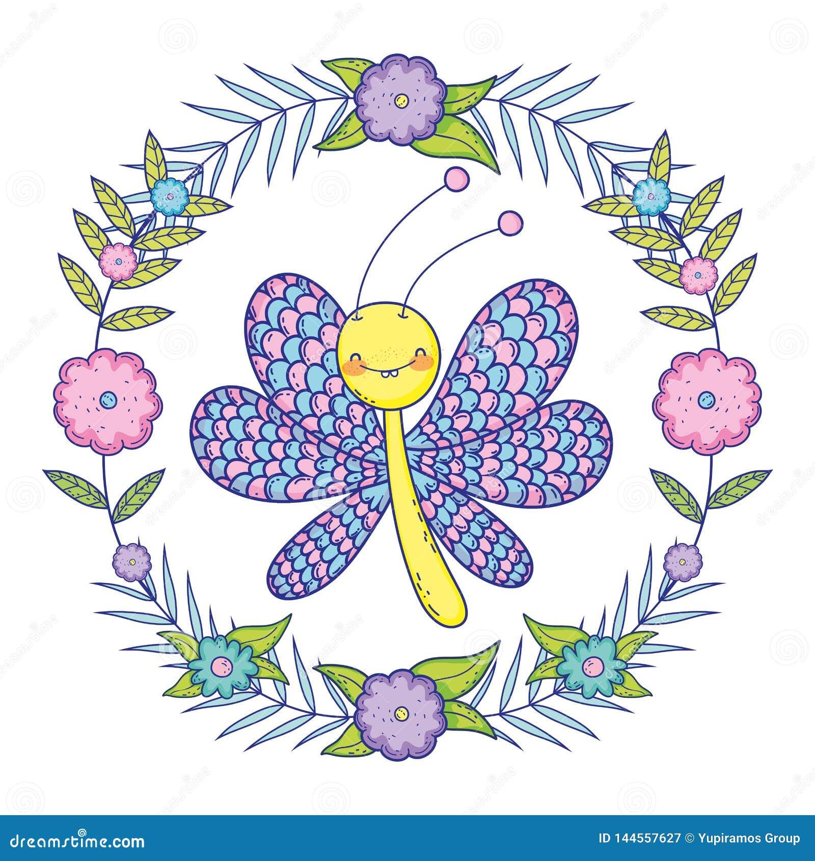 Härligt fjärilsflyg med den blom- kronan