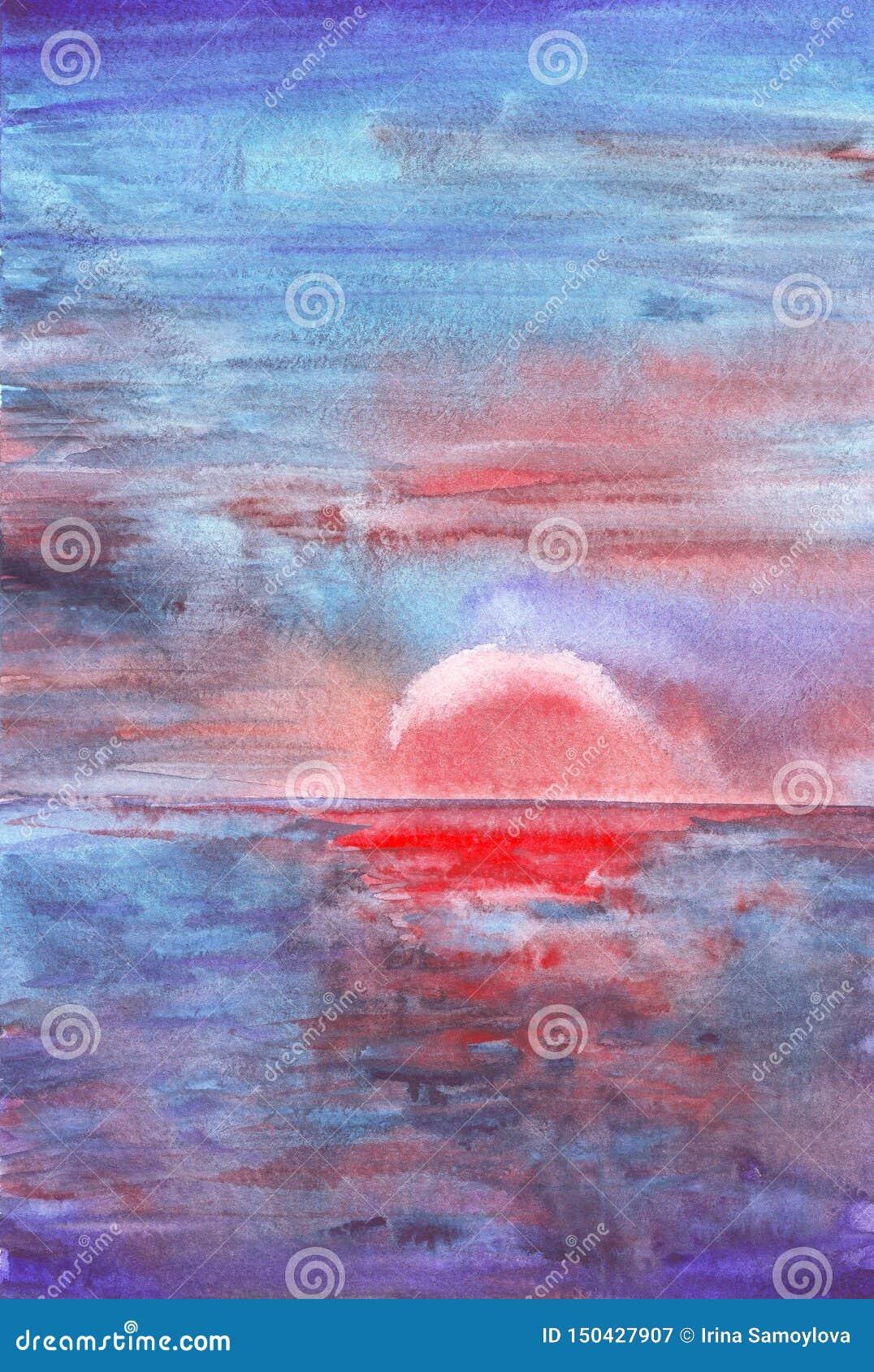 Härligt hav på vattenfärgmålningbakgrund
