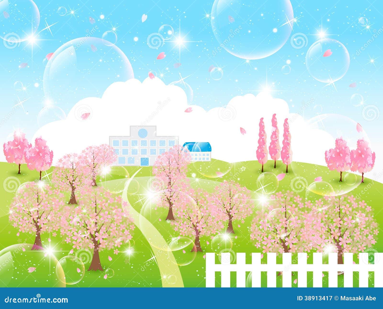 Härligt körsbärsrött träd