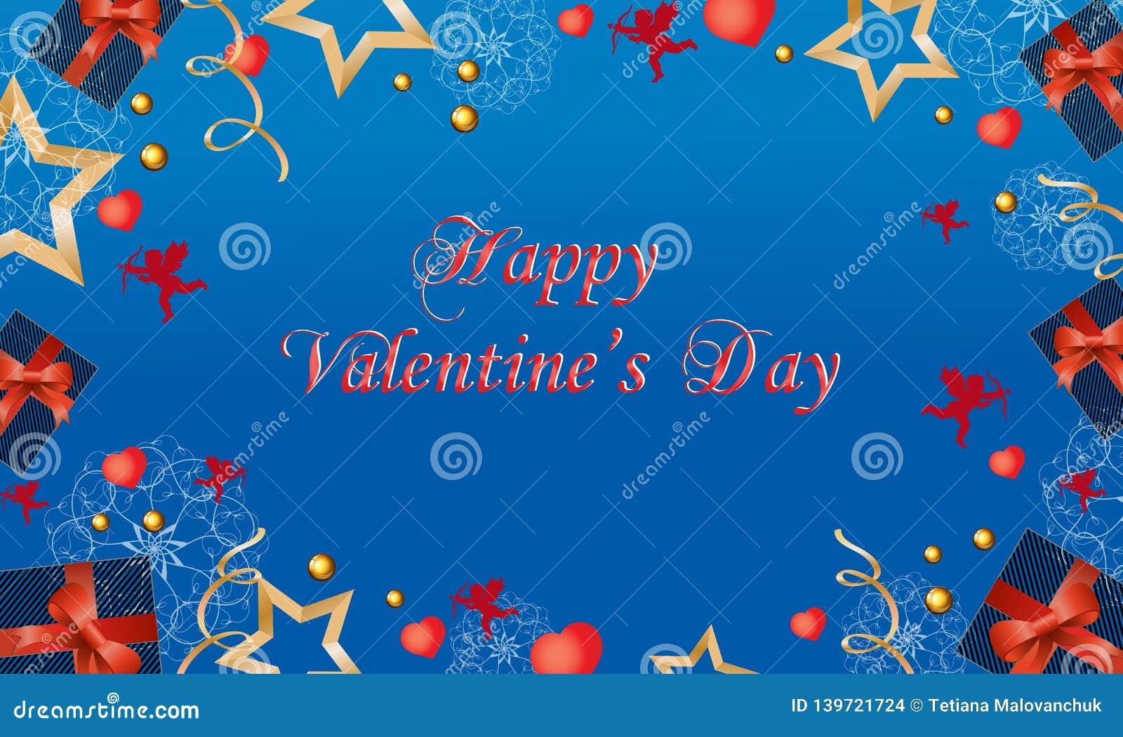 Härligt kort med gulliga änglar och hjärtor på valentin dag också vektor för coreldrawillustration