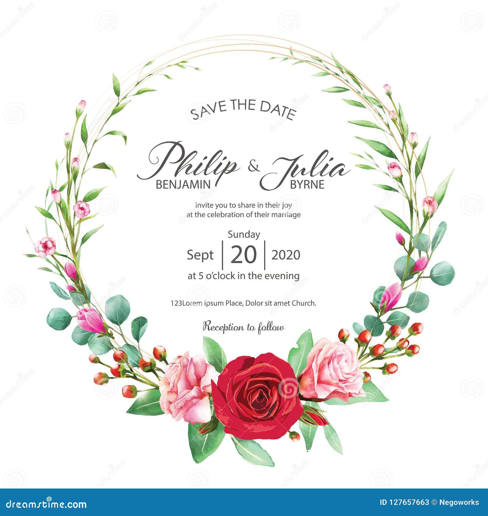 Härligt rött och rosa blom-, kort för blommabröllopinbjudan på vit bakgrund Vektor vattenfärg Steg magnolian