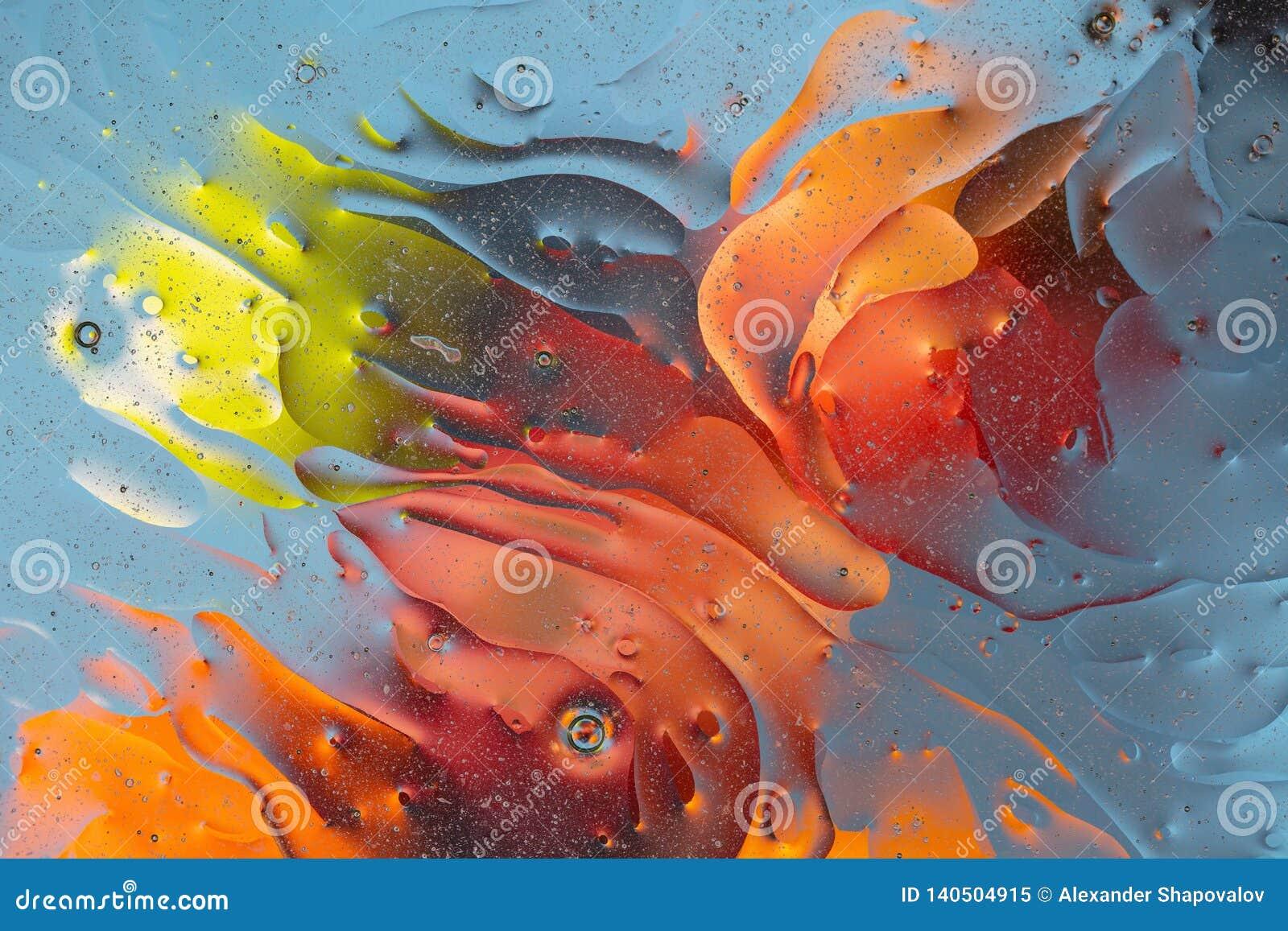 Härligt slut upp den röda sikten, orange, blå gul färgrik abstrakt design, textur