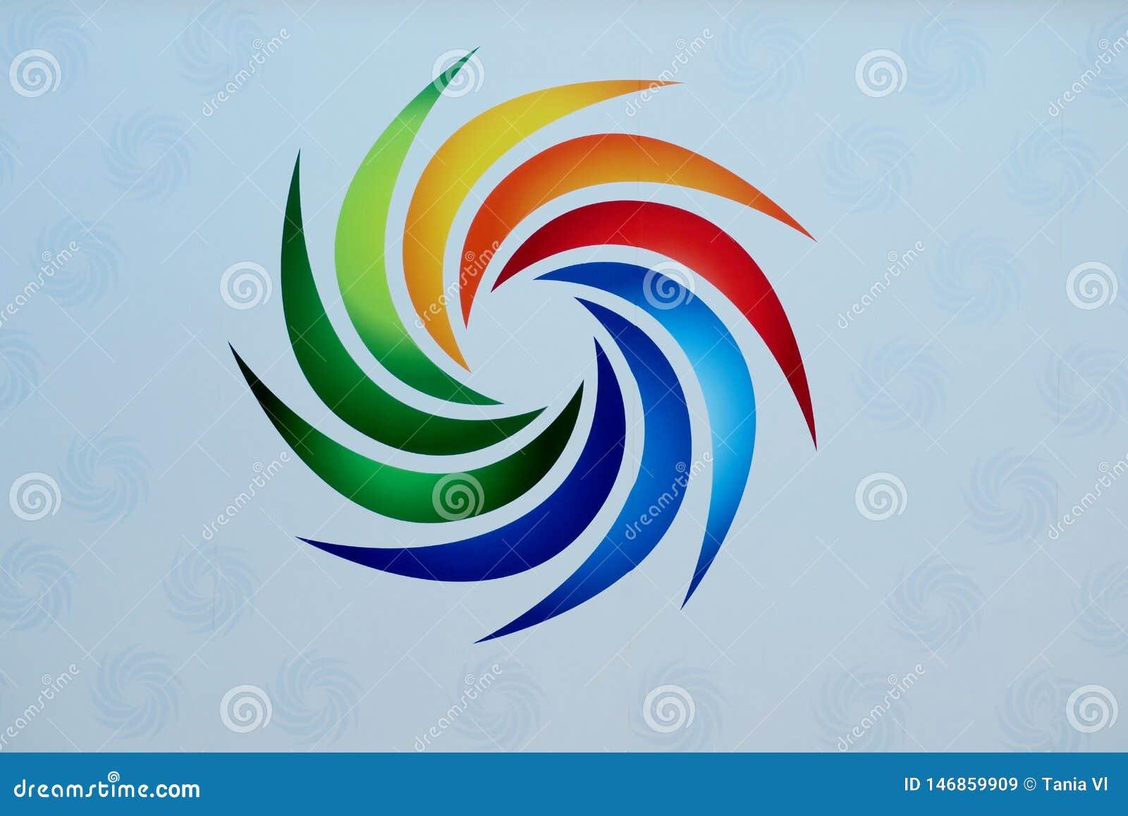 Härligt tecken av olika ljusa färger på en vit bakgrund