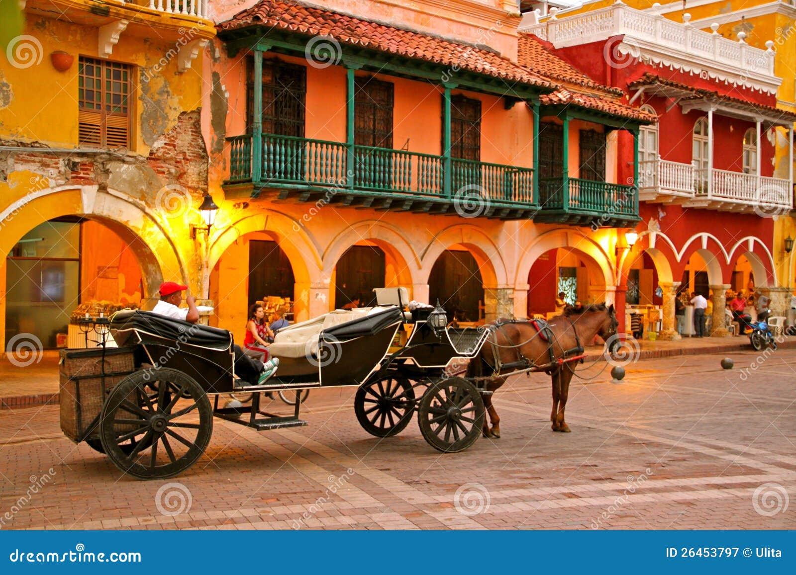 Häst dragen vagn, Plaza de los Coches, Cartagena