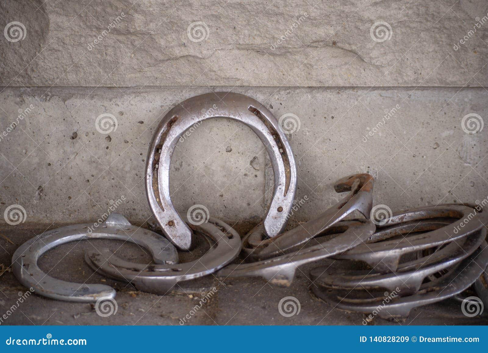 Hästskor mot tegelsten Walll