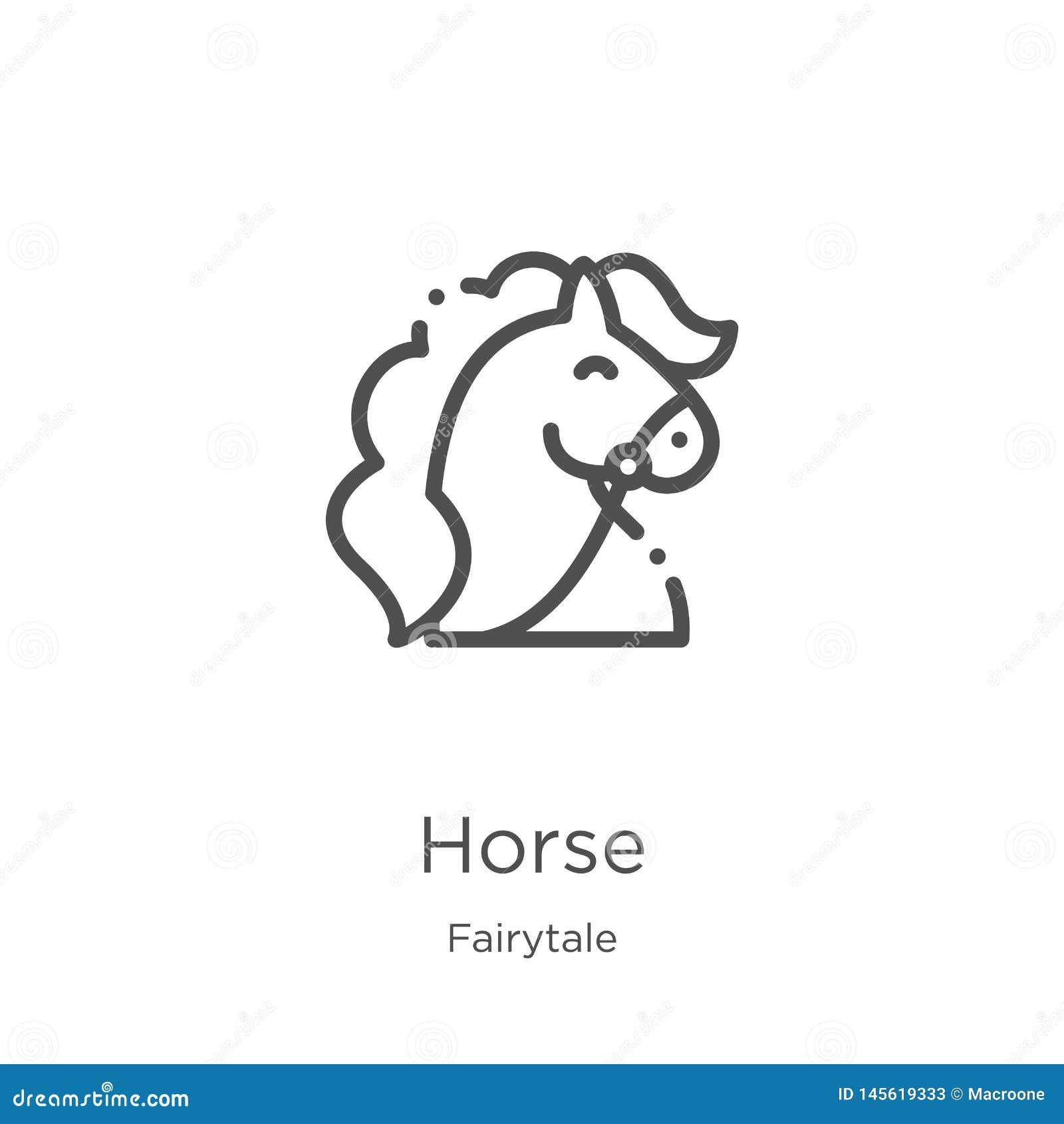 Hästsymbolsvektor från sagasamling Tunn linje illustration f?r vektor f?r h?st?versiktssymbol Översikt tunn linje hästsymbol för