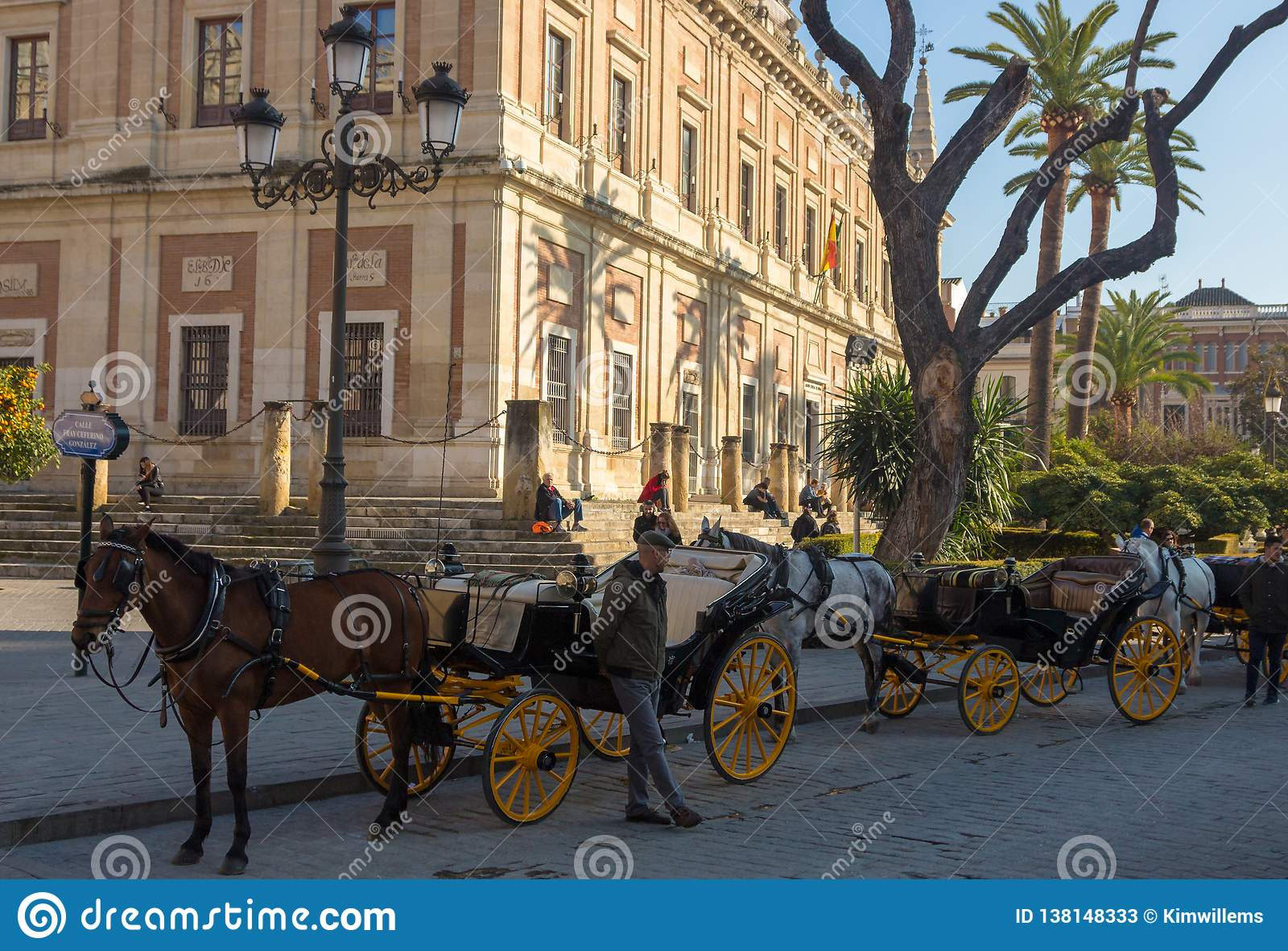Hästvagn i Seville väntande på kunder