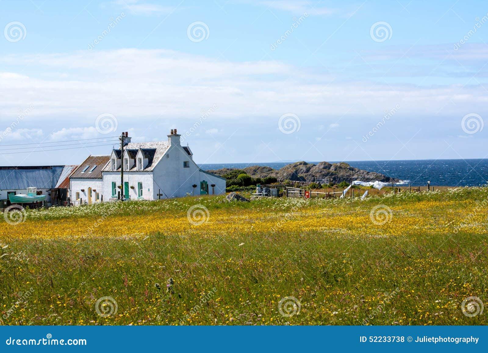 Häuser Abd Felder Von Iona Im Inneren Hebrides, Schottland Stockfoto ...
