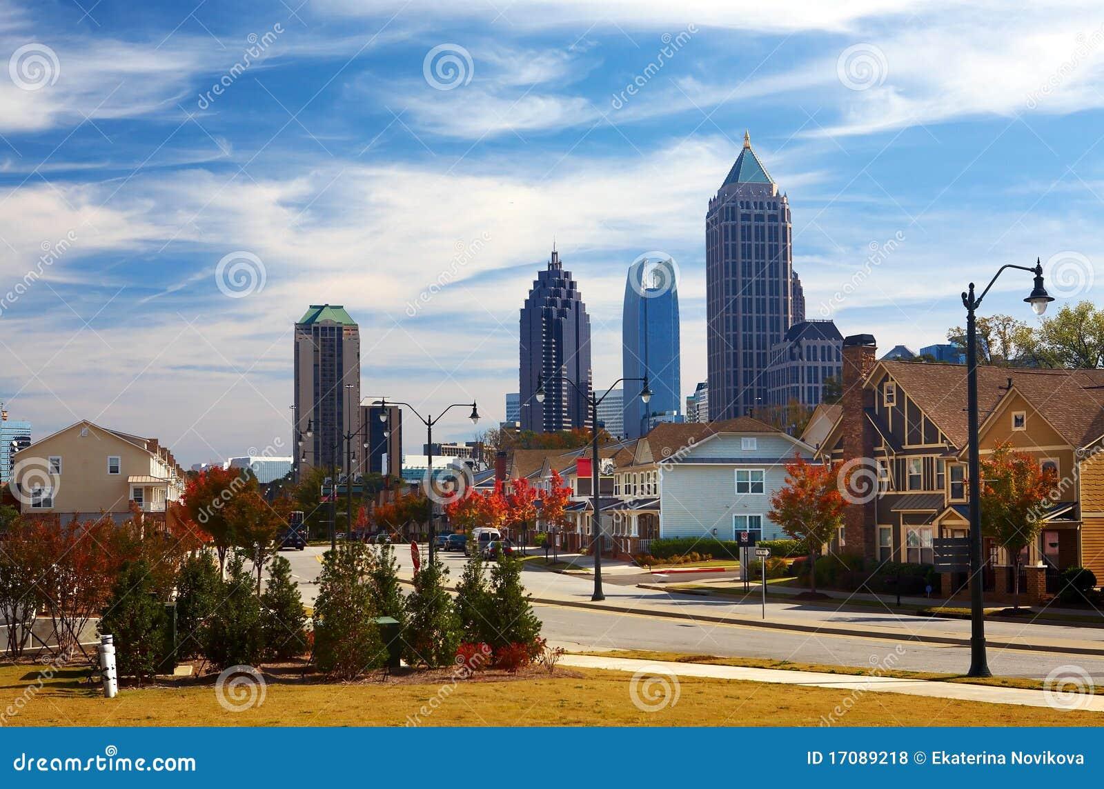 Häuser gegen das Midtown. Atlanta, GA. USA.