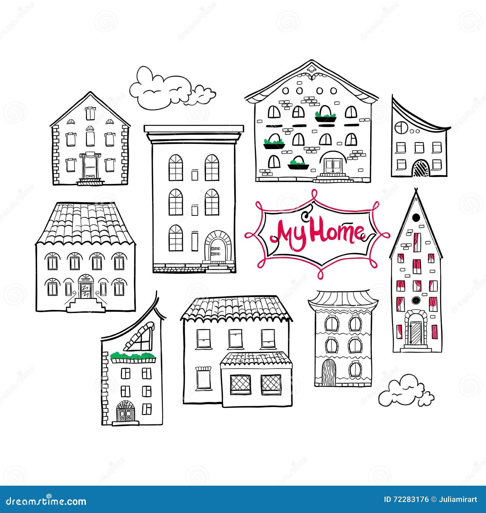 Hauser Und Wolken Skizze Vektor Abbildung Illustration Von