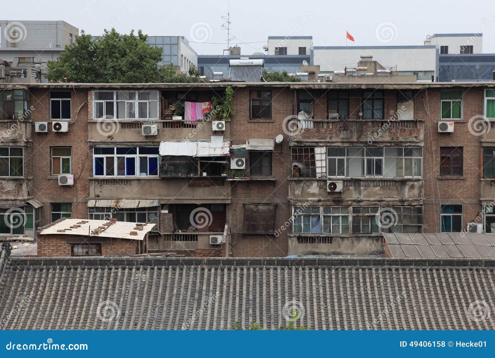 Download Häuser in Xian China redaktionelles stockfoto. Bild von stadtwohnung - 49406158