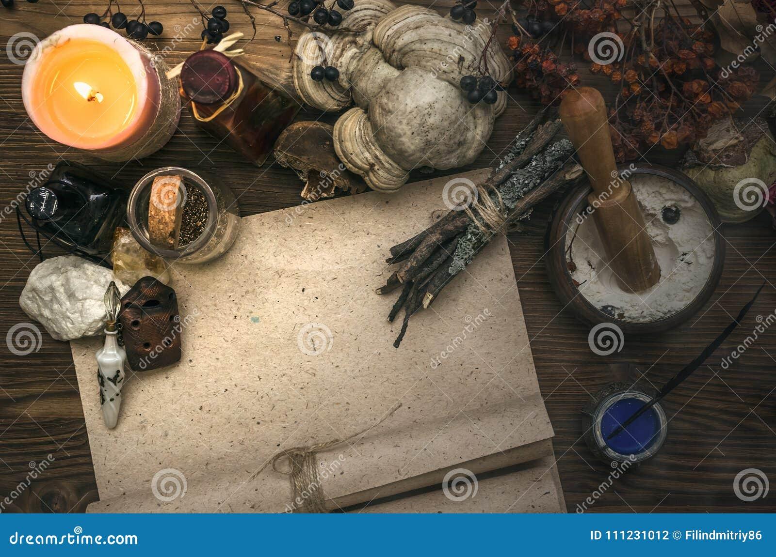 Häxadoktor shaman witchcraft Magisk tabell alternativt magasin för brunnsort för medicin för objekt för ginkgo för bambubadbiloba