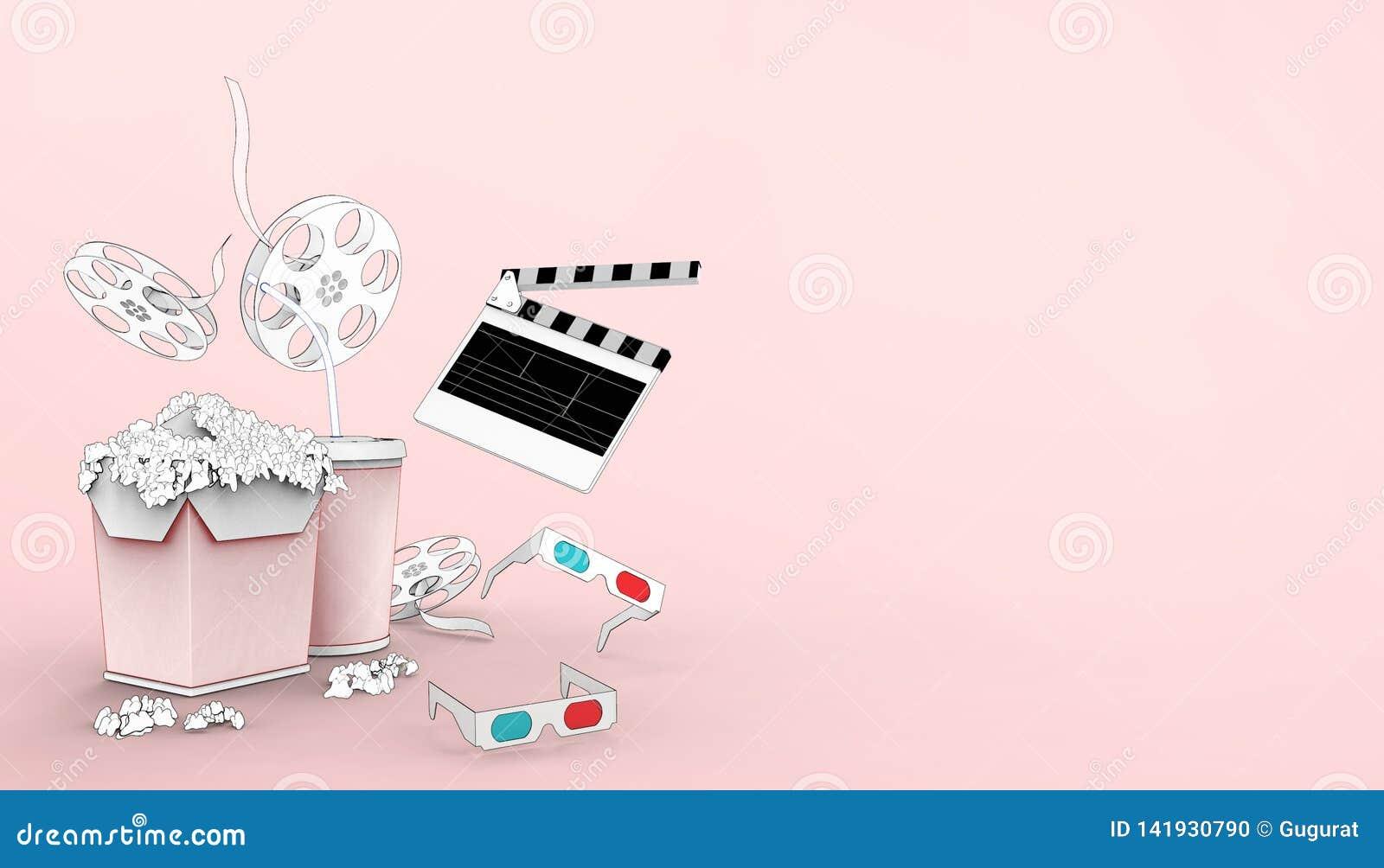 Hållande ögonen på teckning för online-biokonstfilmbiograf med popcorn, exponeringsglas 3d och filmbransch på rosa bakgrund
