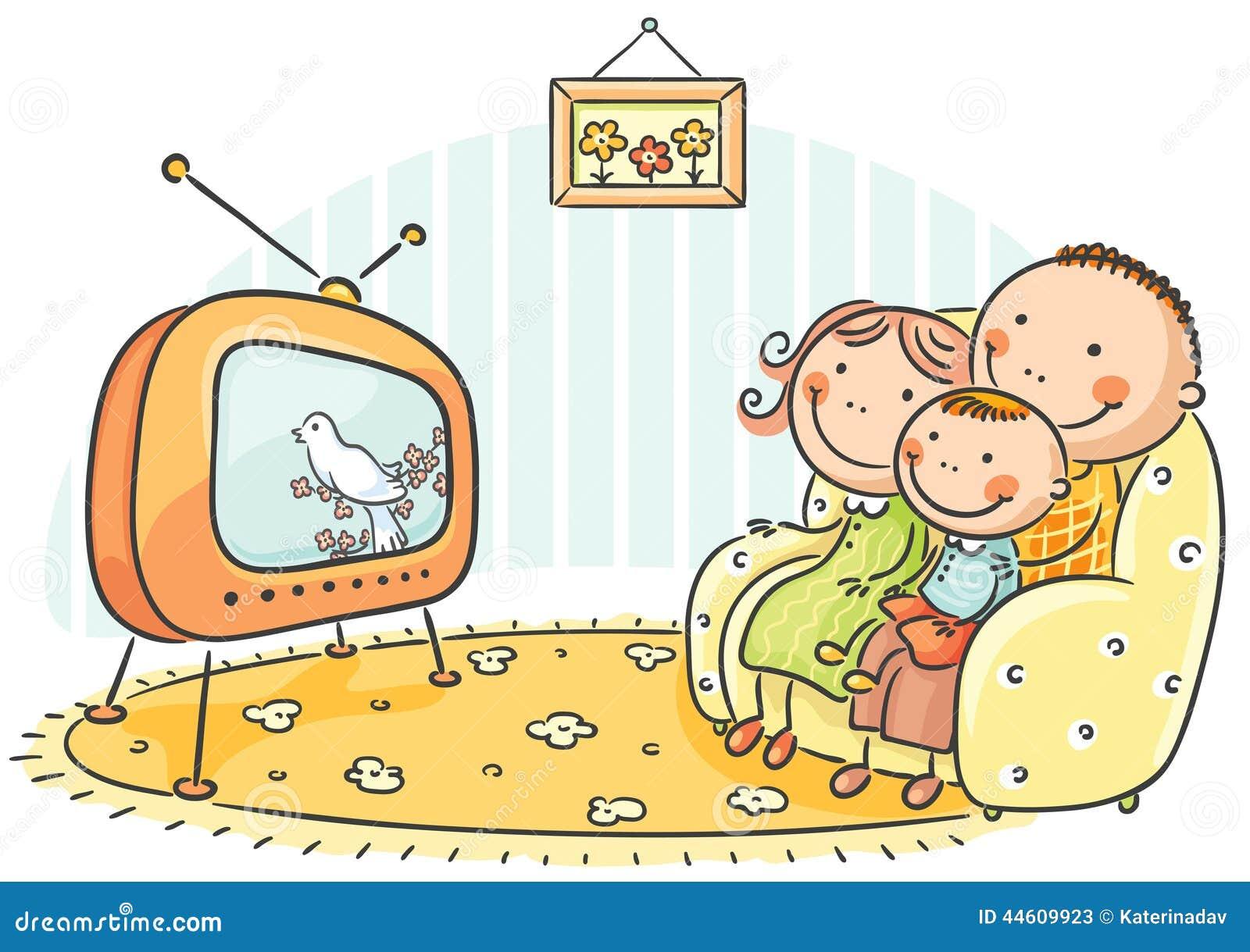 Hållande ögonen på TV för familj tillsammans