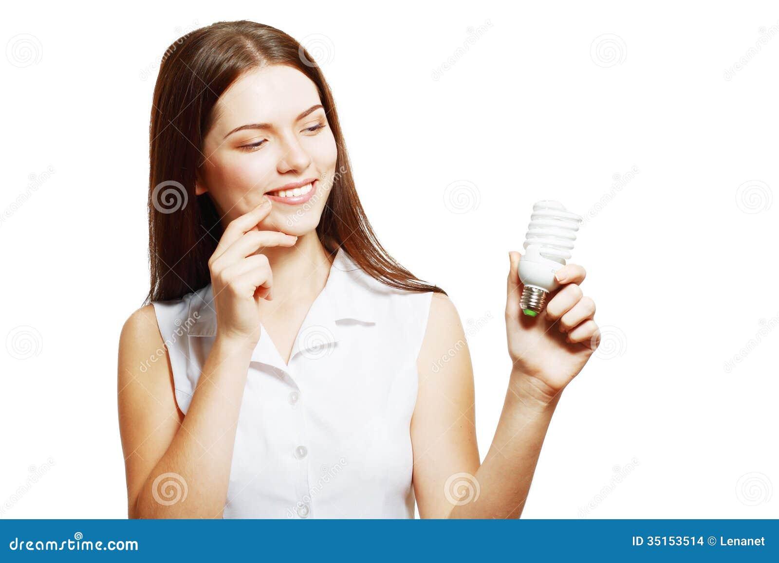 Hållande energi för kvinna - besparinglampa