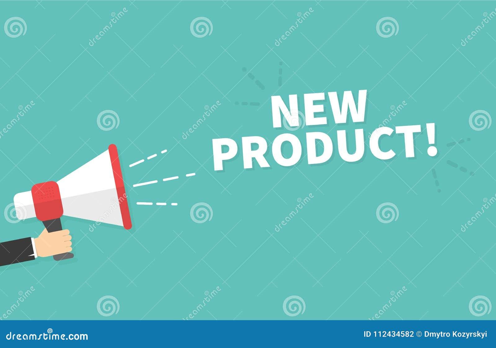 Hållande megafon för manlig hand med ny produktanförandebubblan högtalare Baner för affär, marknadsföring och advertizing