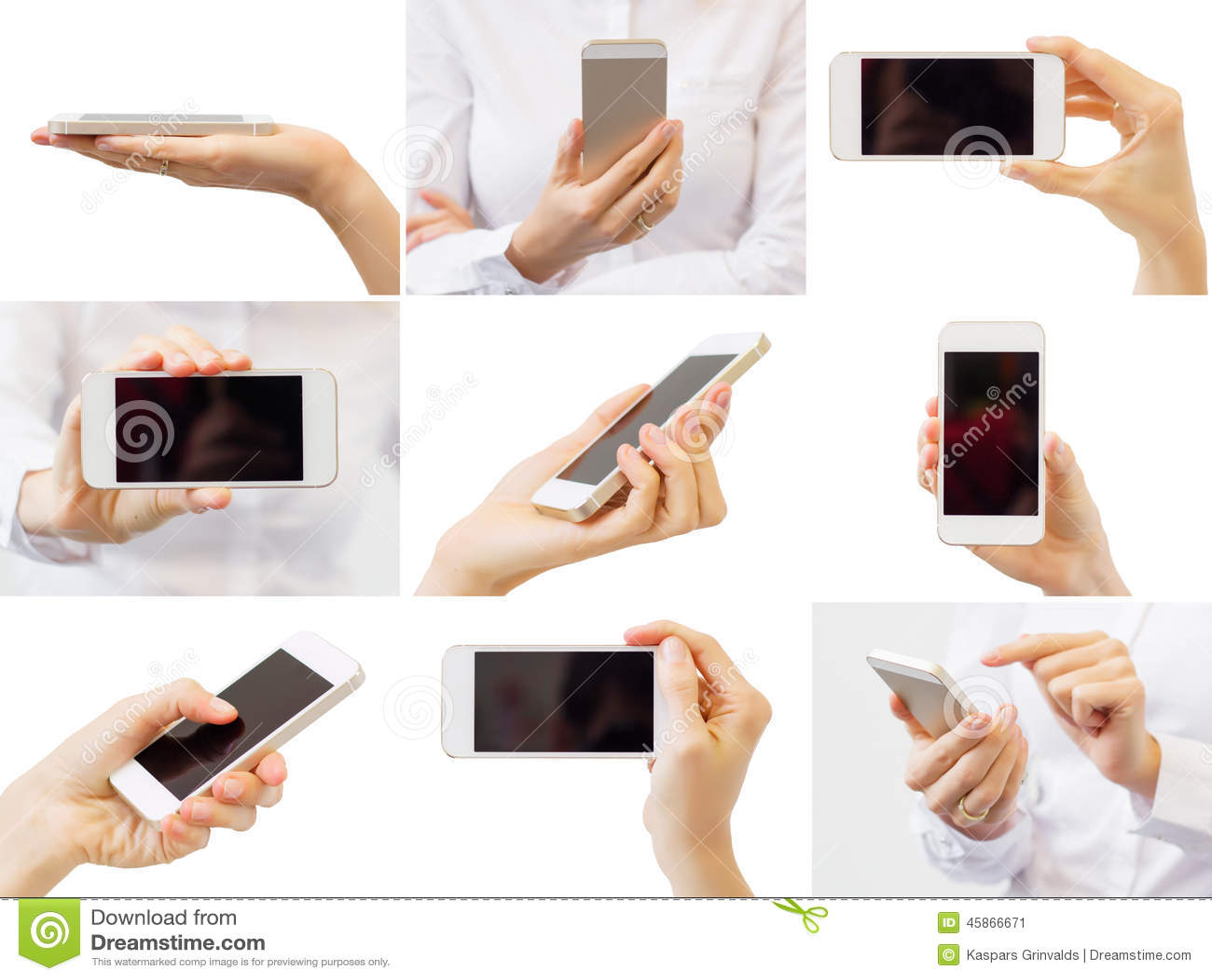 Hållande mobiltelefon för kvinna, collage av olika foto