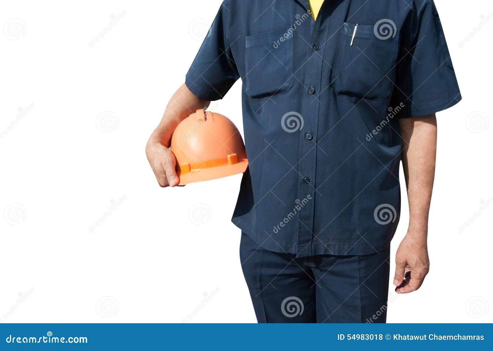 Hållande orange hjälm för tekniker för arbetarsäkerhet