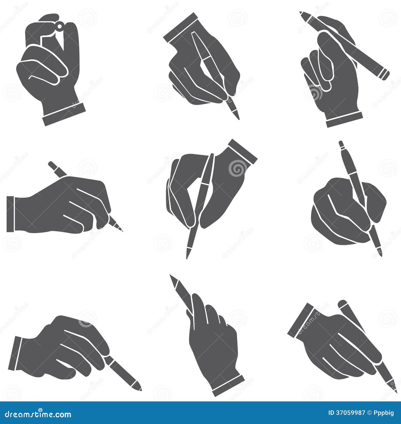 Hållande pennor för hand, handstil