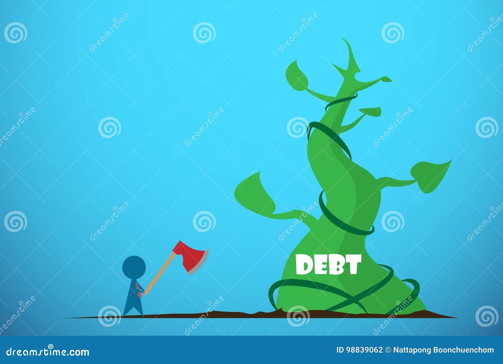 Hållande yxa för affärsman som klipper den jätte- bönstjälk, skuld och affärsidé