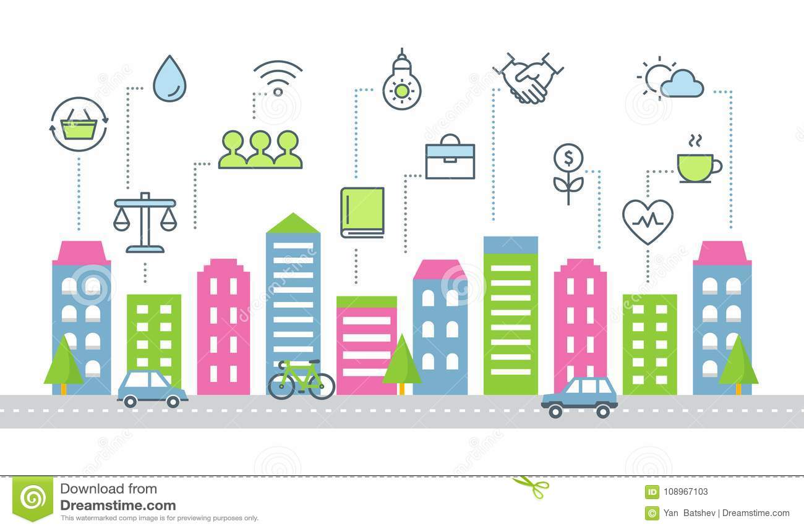 Hållbar utveckling och illustration för Smart stadsvektor