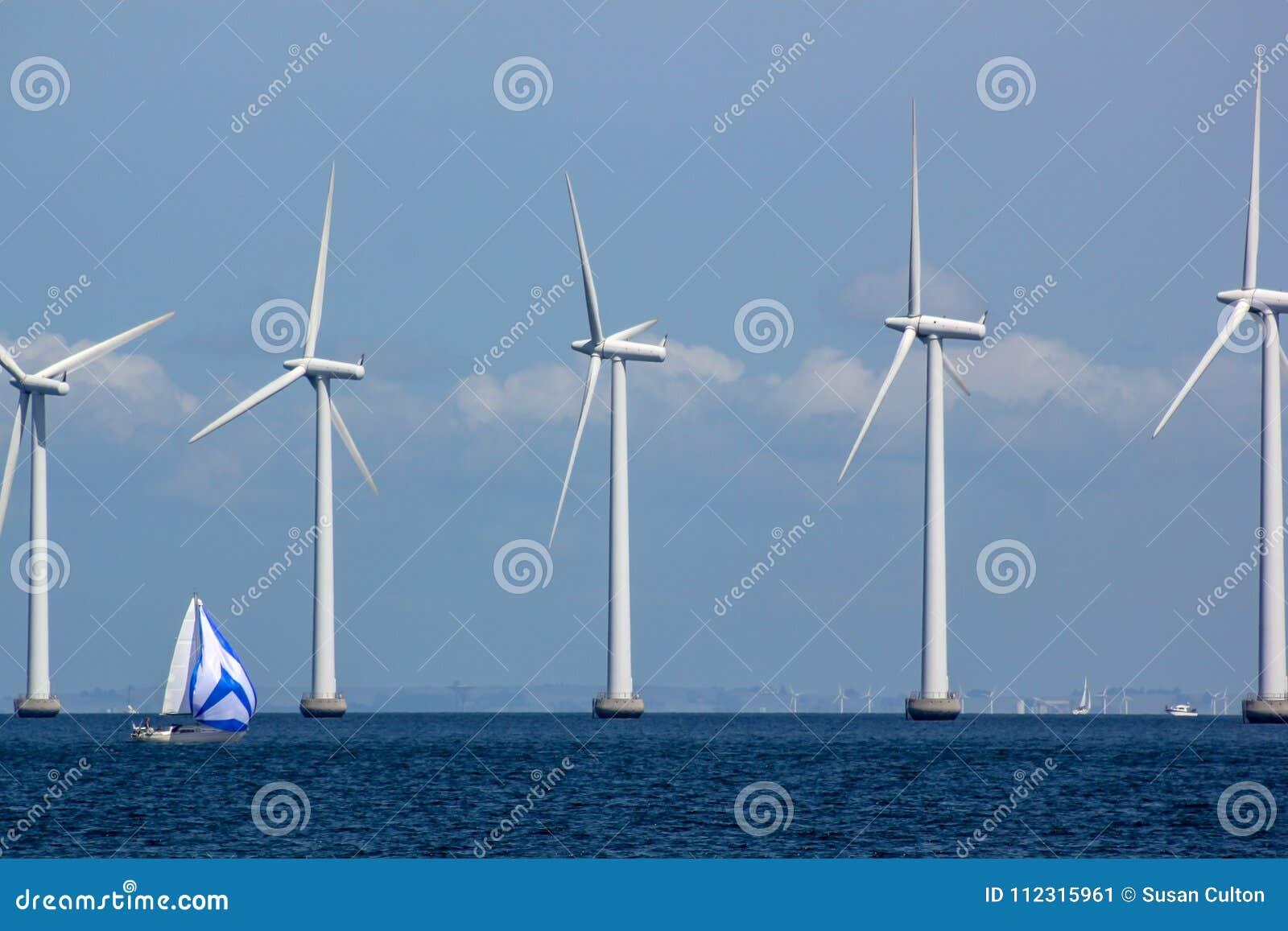 Hållbara frånlands- Windfarm med segelbåten