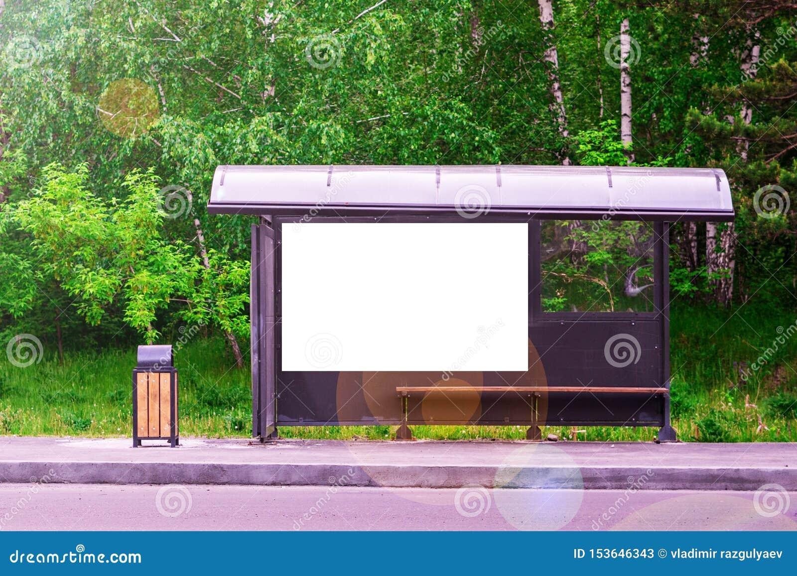 Hållplats nära vägen i bakgrunden för skoggräsplan Kopiera utrymme f?r text