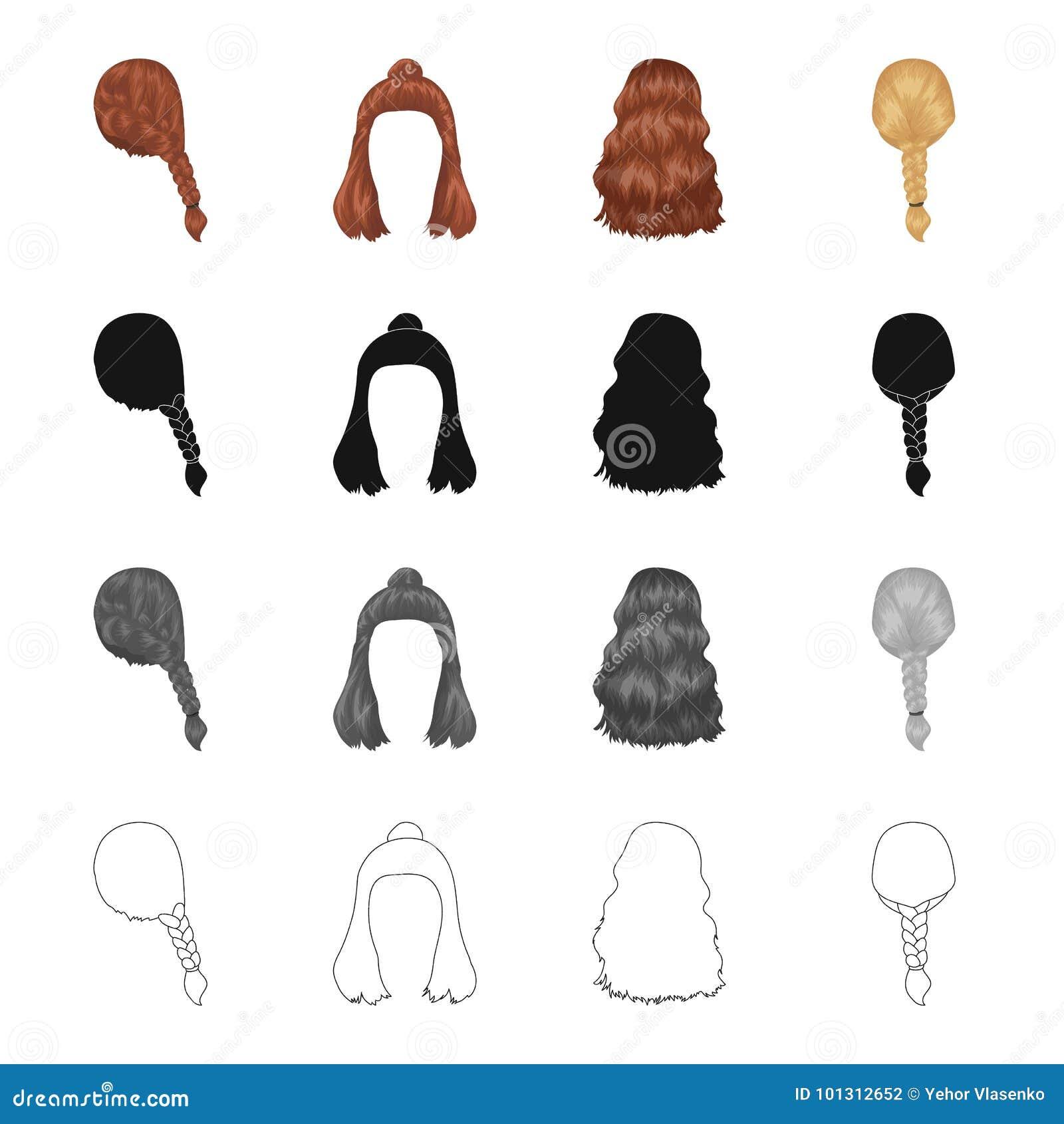 Hår långt, chinjong och annan rengöringsduksymbol i tecknad filmstil Frisersalong frisyr, lås, symboler i uppsättningsamling