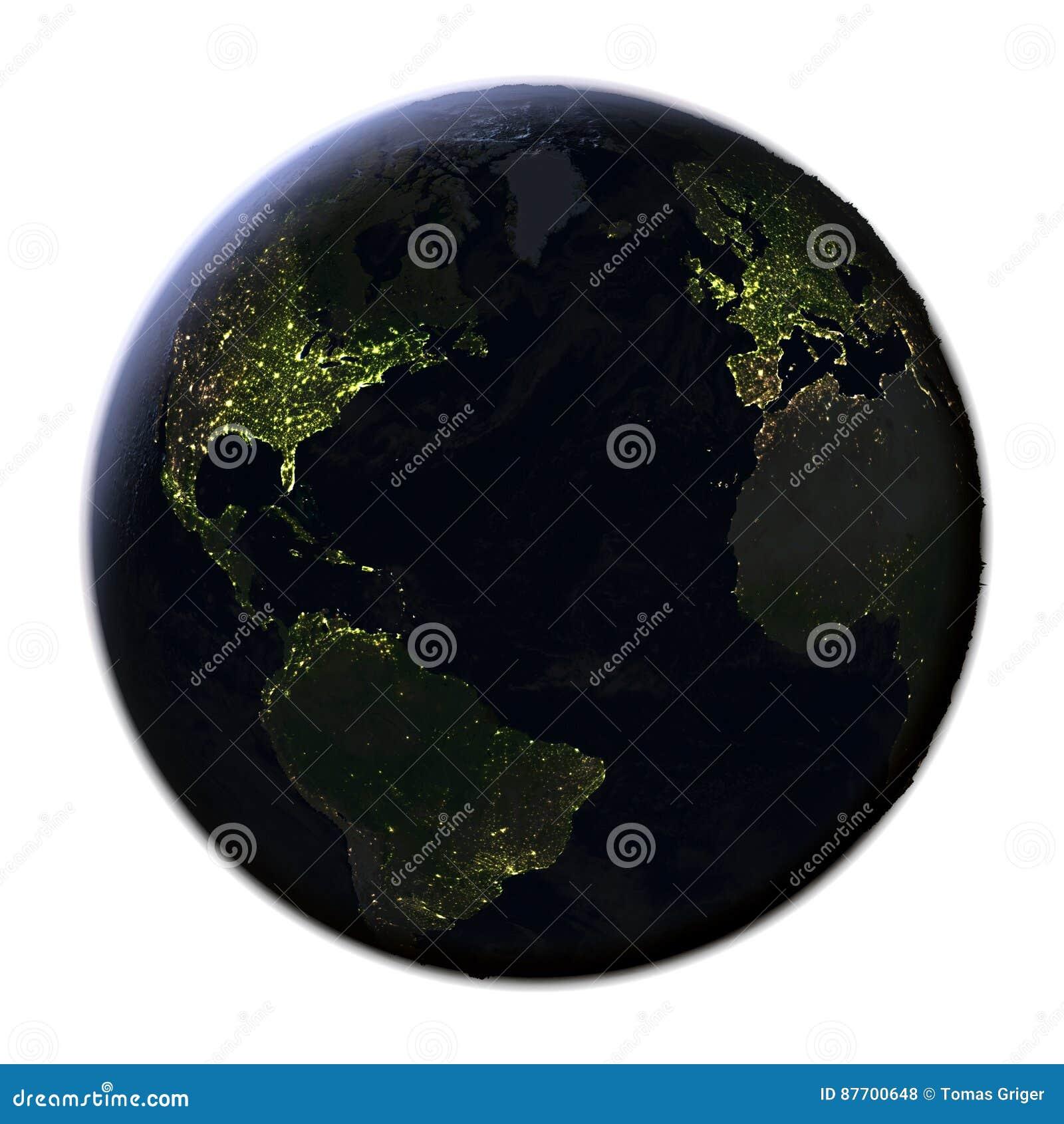 Hémisphère nord sur terre la nuit d isolement sur le blanc
