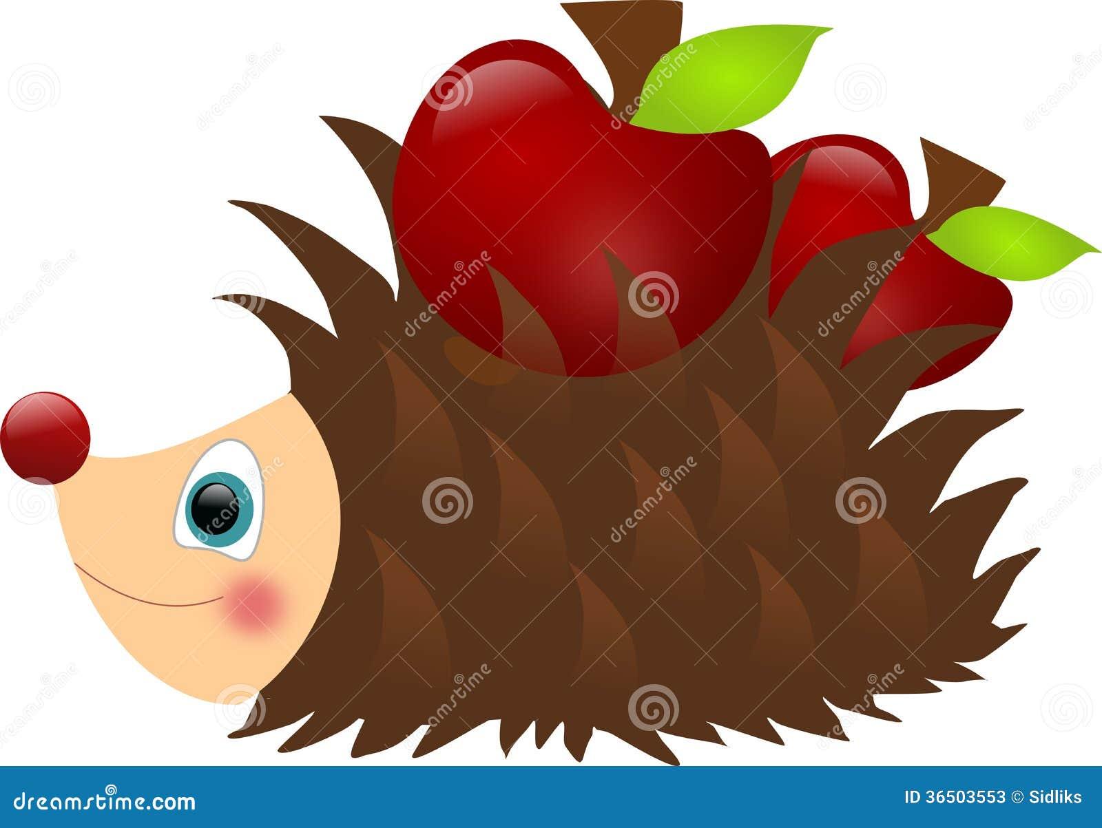 Hérisson avec des pommes