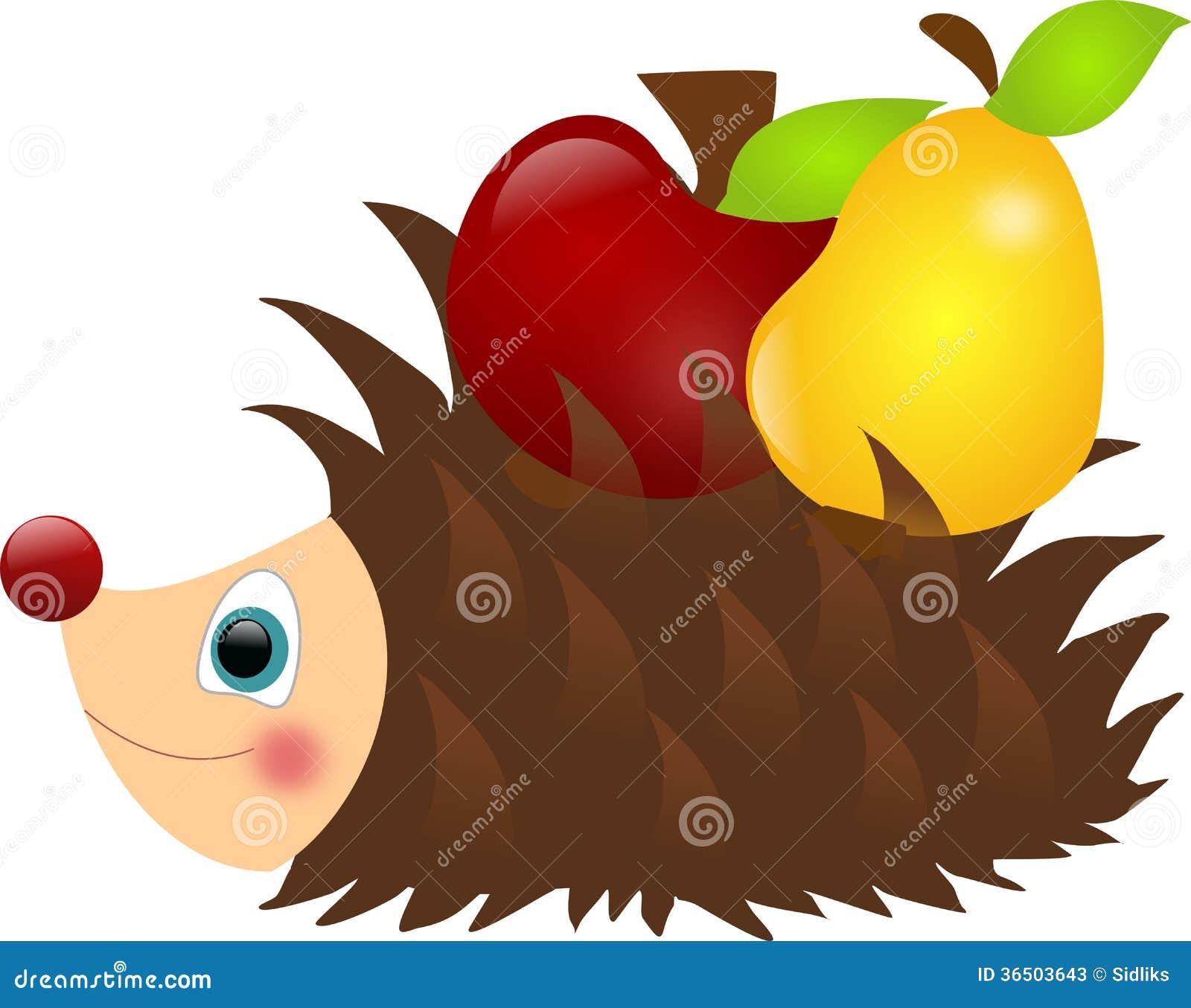 Hérisson avec la pomme et la poire